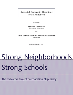Strong Neighborhoods, Strong Schools