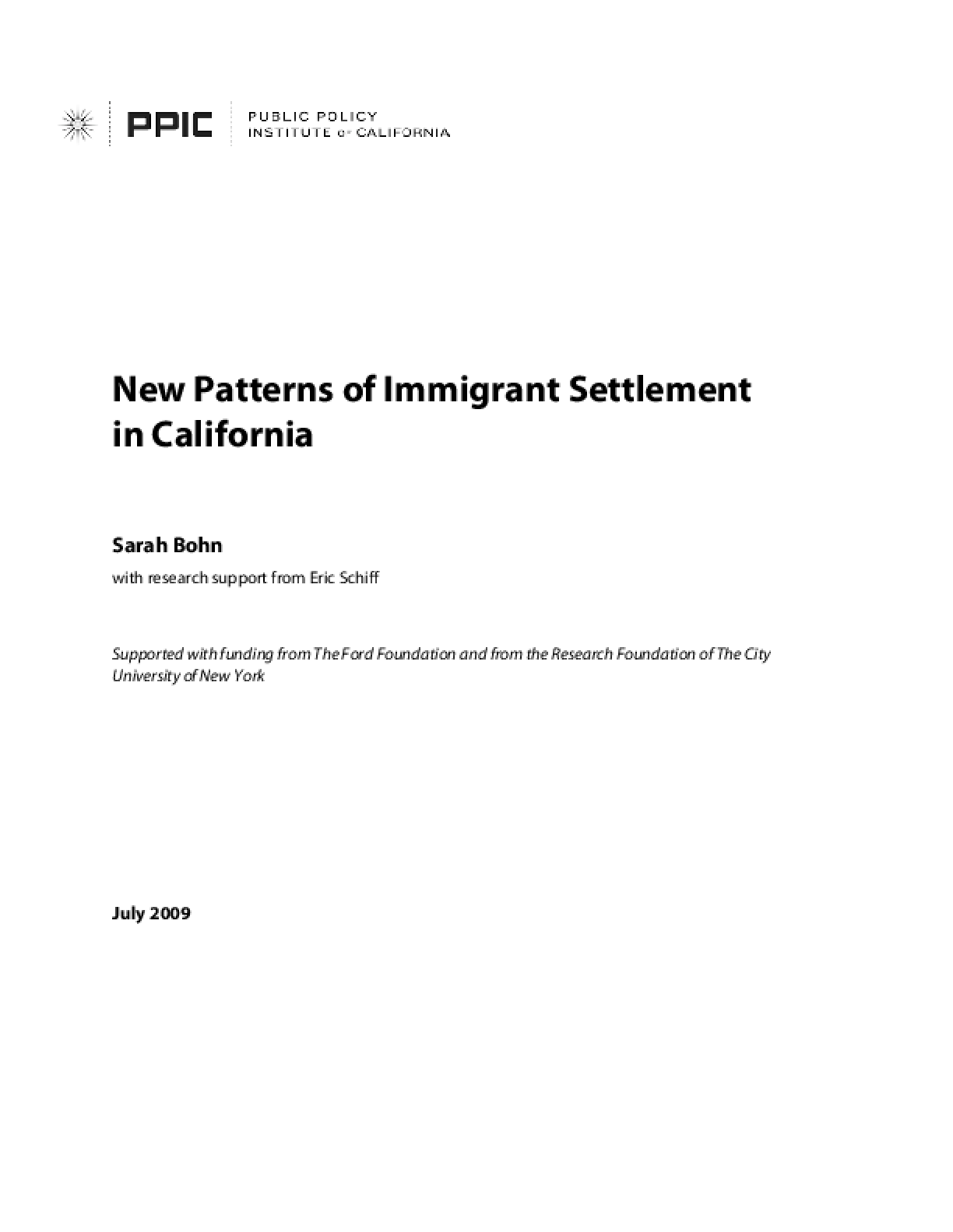 New Patterns of Immigrant Settlement in California