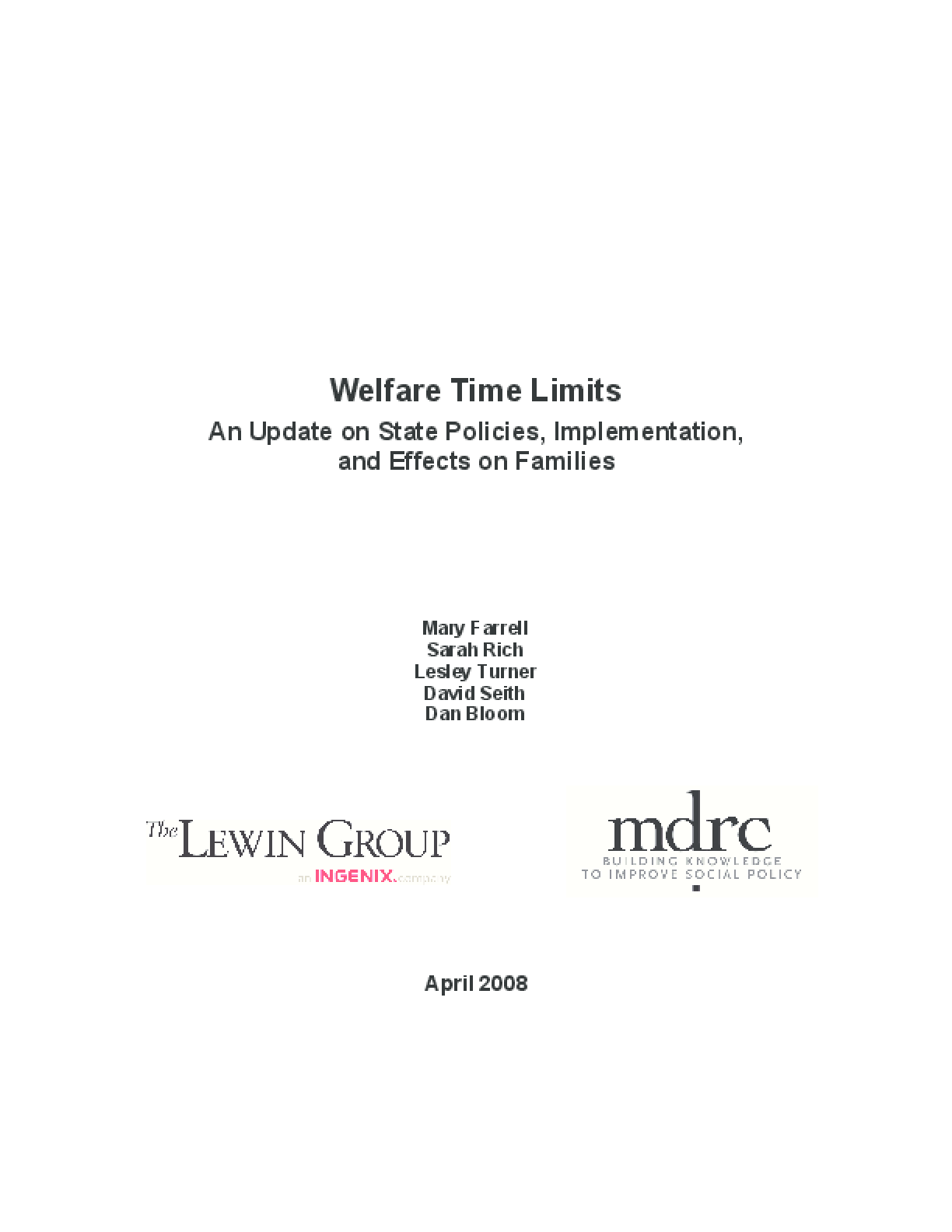 Welfare Time Limits: An Update on State Policies, Implementation, and Effects on Families