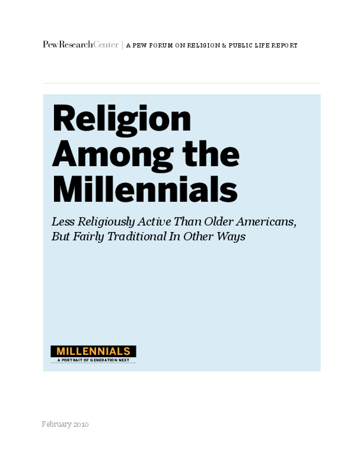 Religion Among the Millennials