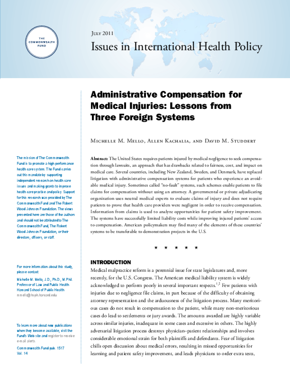 Administrative Compensation for Medical Injuries: Lessons From Three Foreign Systems