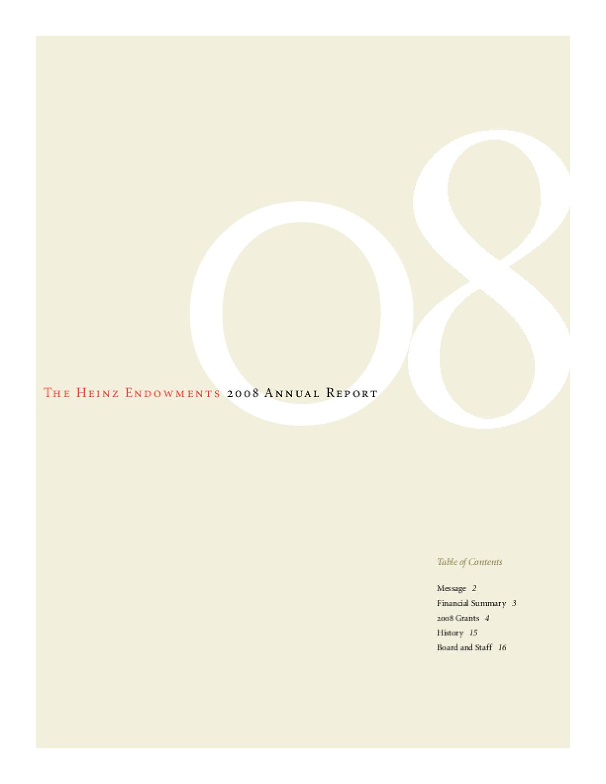 Heinz Endowments 2008 Annual Report