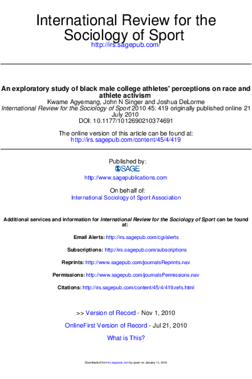 An Exploratory Study of Black Male College Athletes' Perceptions on Race and Athlete Activism