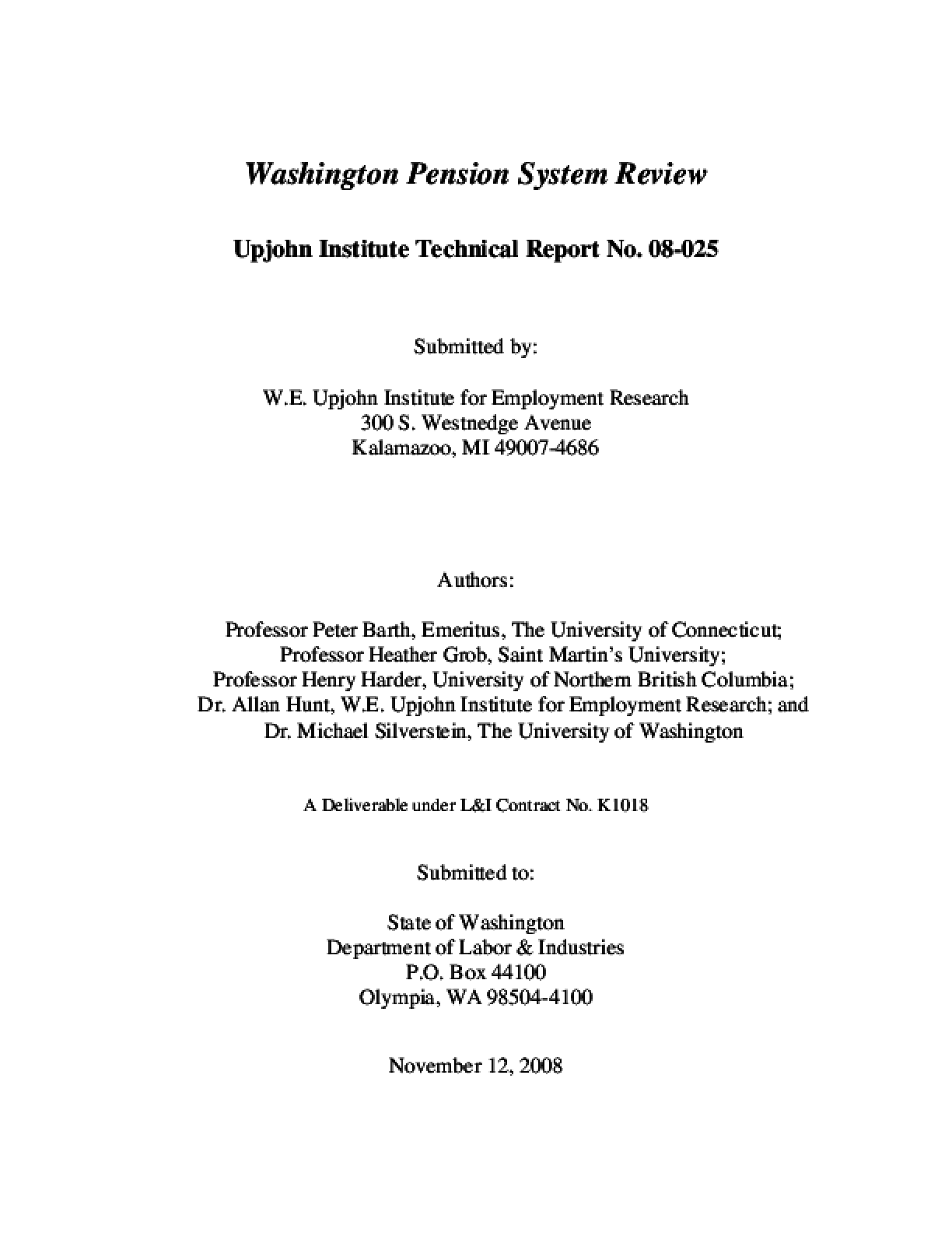 Washington Pension System Review