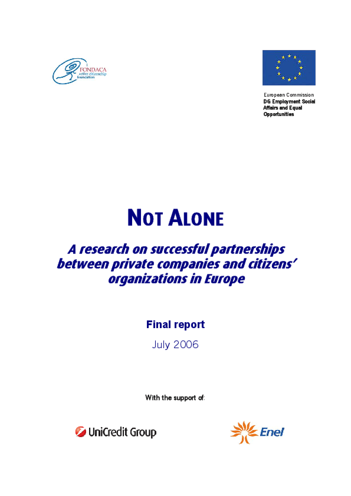 Not Alone: A Research On Successful Partnerships Between Private Companies and Citizens' Organizations in Europe