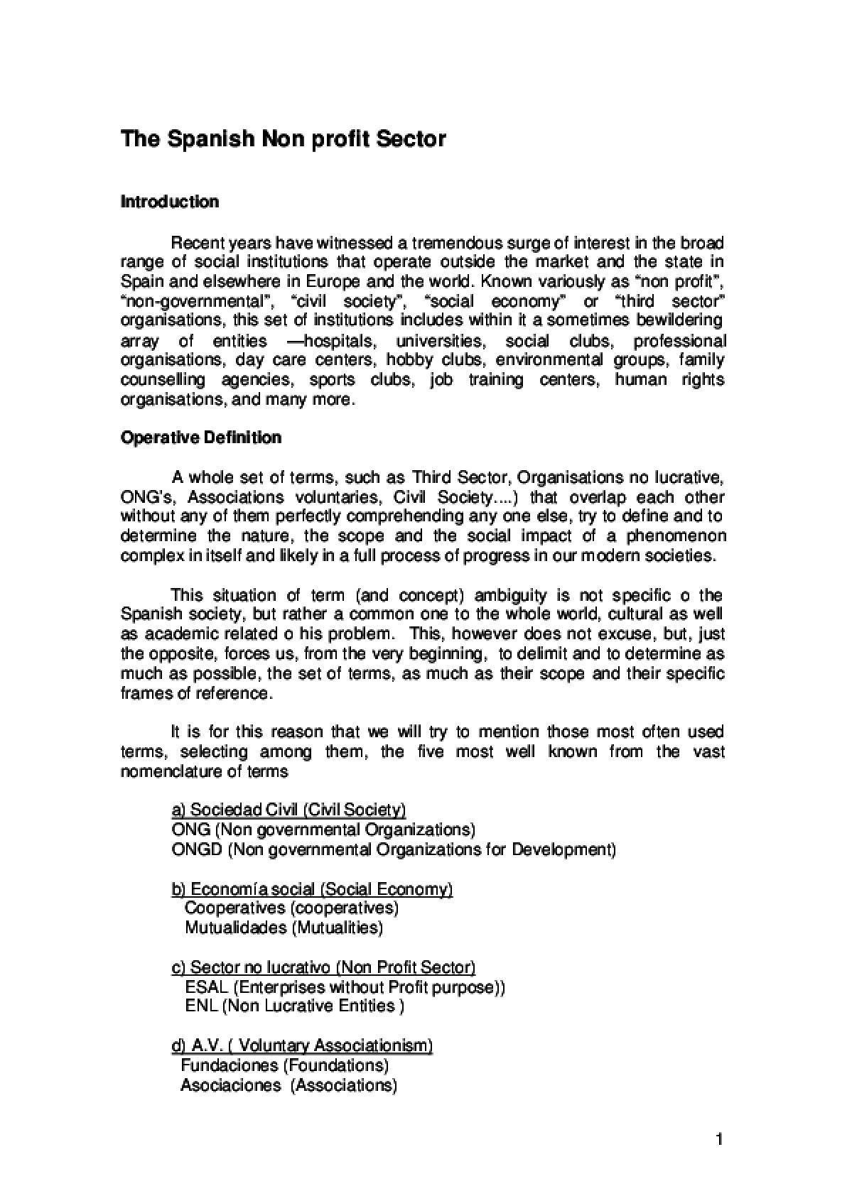 The Spanish Non-profit Sector