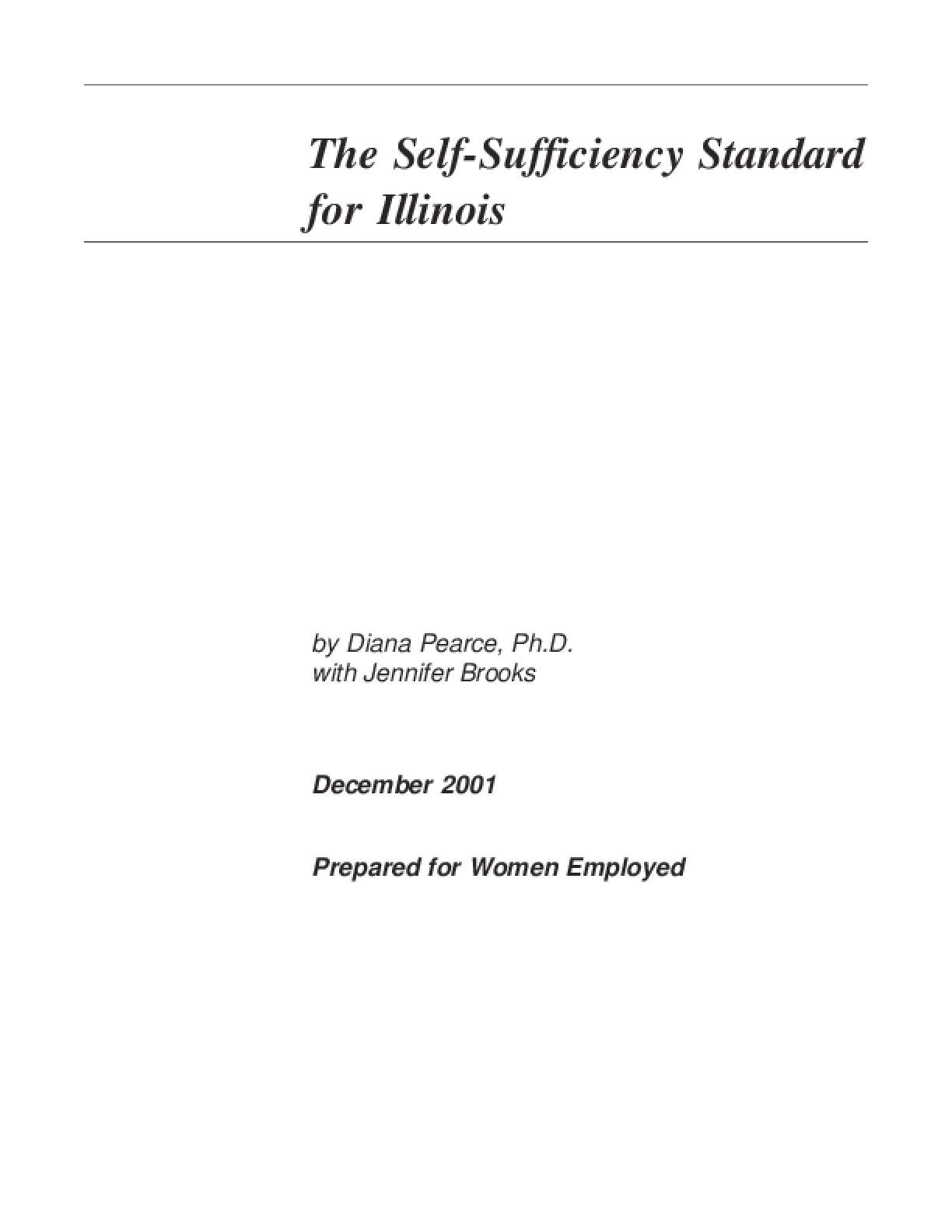 The Self-Sufficiency Standard for Illinois