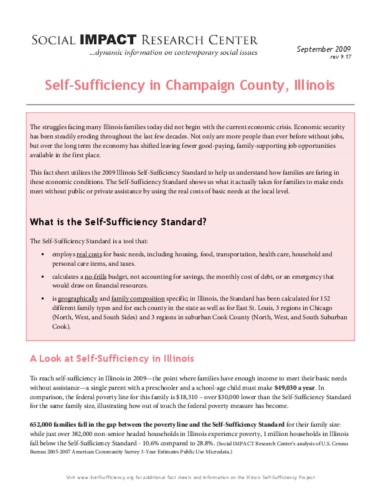 Self-Sufficiency in Champaign County, Illinois