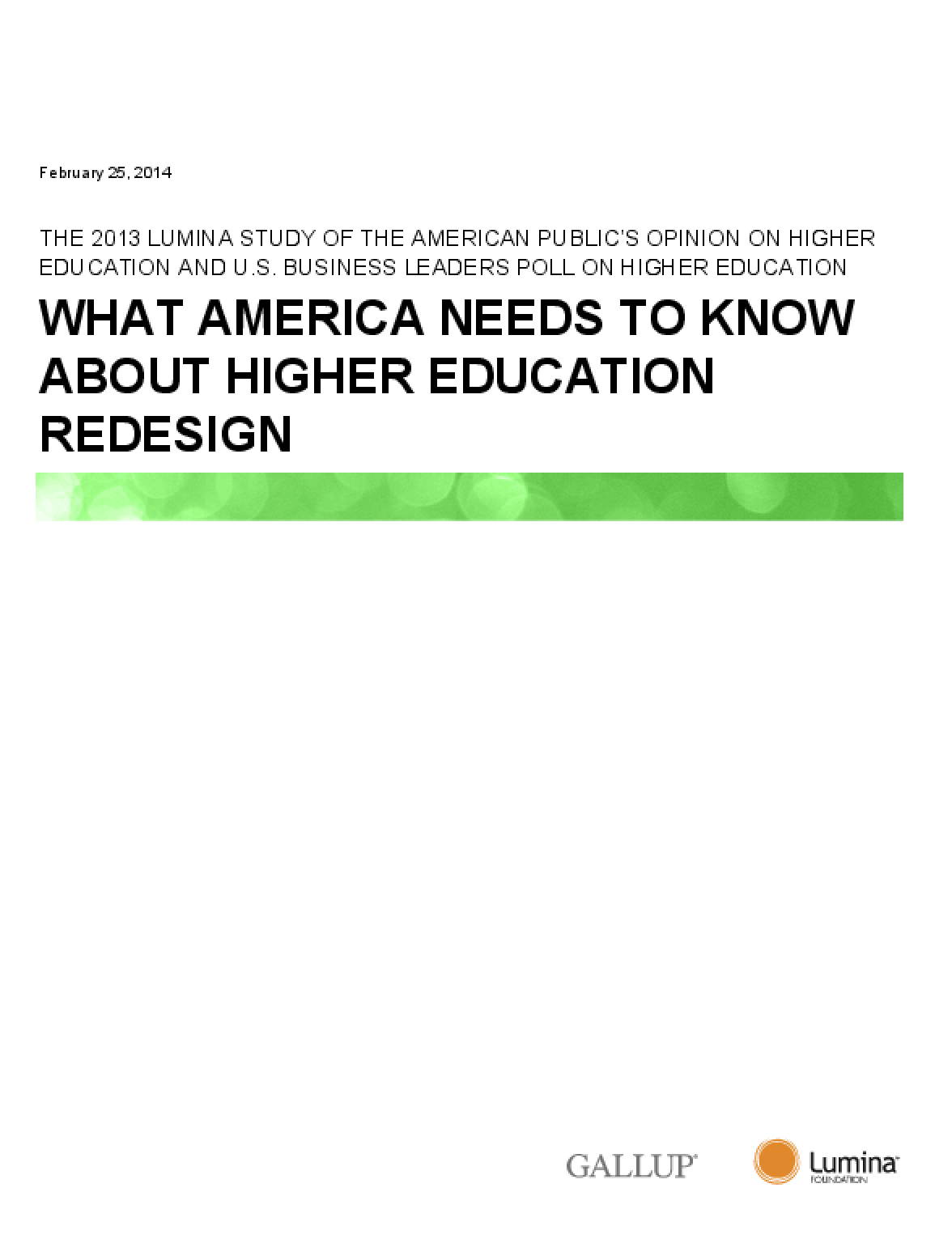 What America Needs to Know About Higher Education Redesign