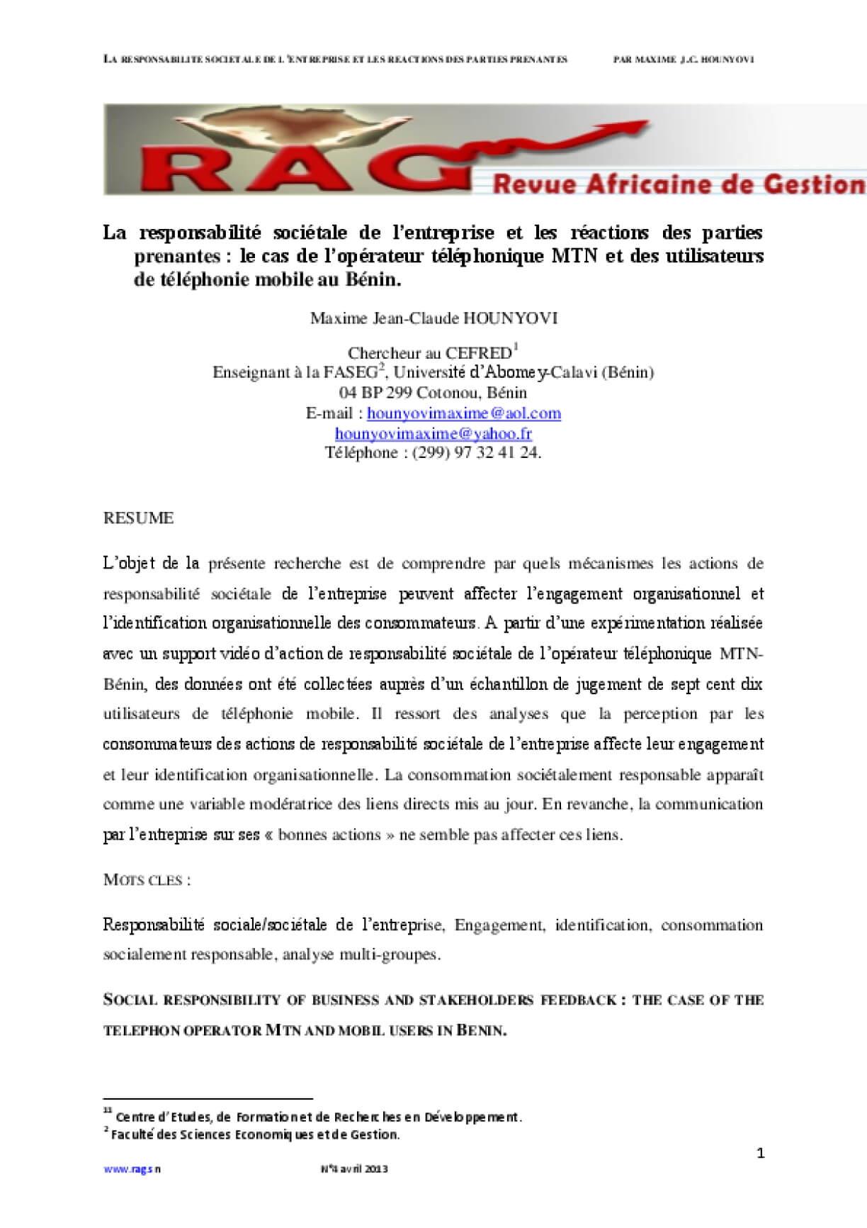 La Responsabilité Sociétale de L'entreprise et Les Réactions des Parties Prenantes : le Cas de L'opérateur Téléphonique Mtn et des Utilisateurs de Téléphonie Mobile au Bénin