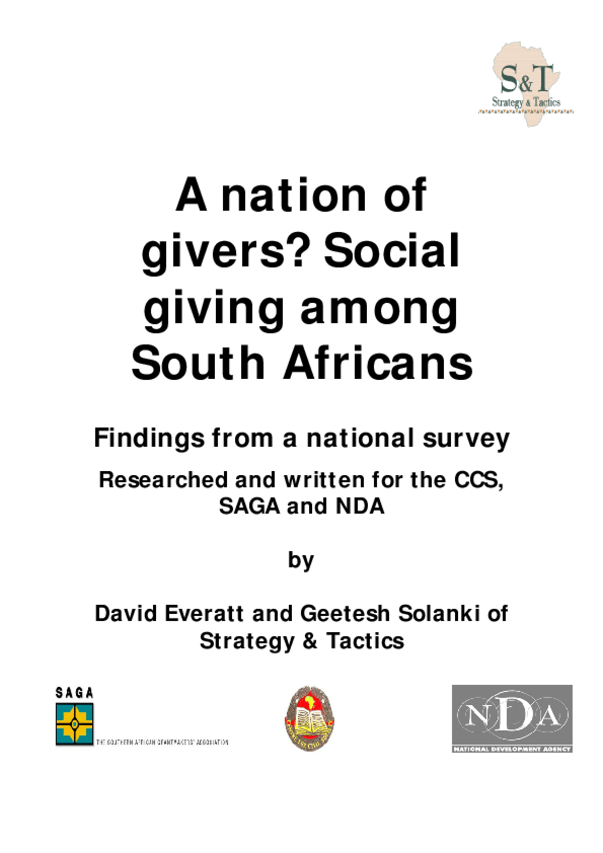 A Nation of Givers? Social Giving Among South Africans: Findings from a National Survey