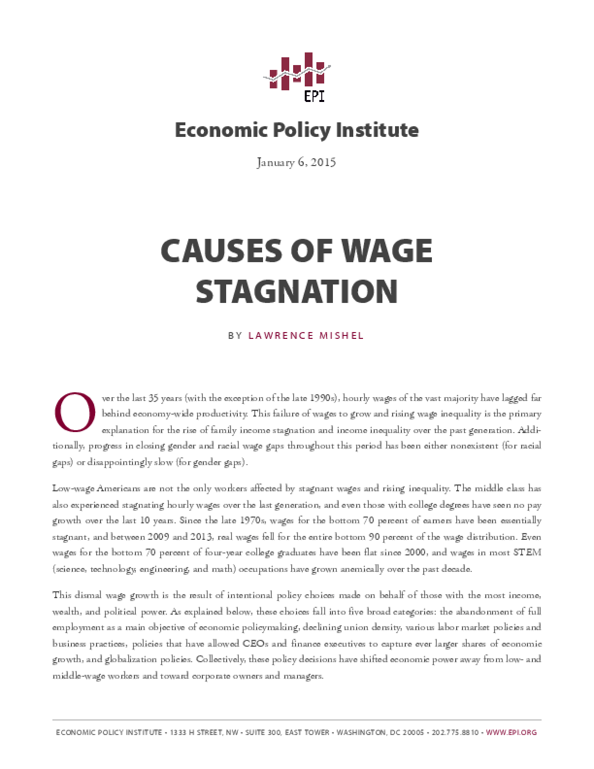 Causes of Wage Stagnation