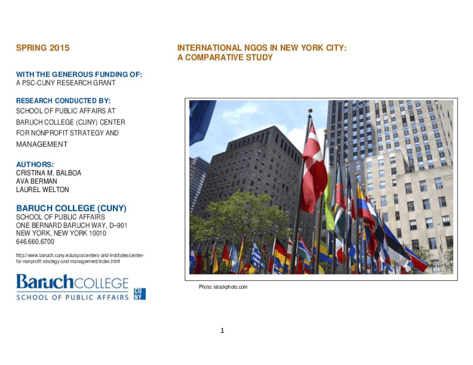 International NGOs in New York City: A Comparative Study