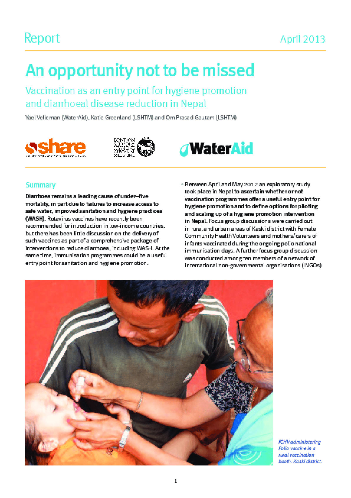 An Opportunity Not To Be Missed: Vaccination as an Entry Point for Hygiene Promotion and Diarrhoeal Disease Reduction in Nepal