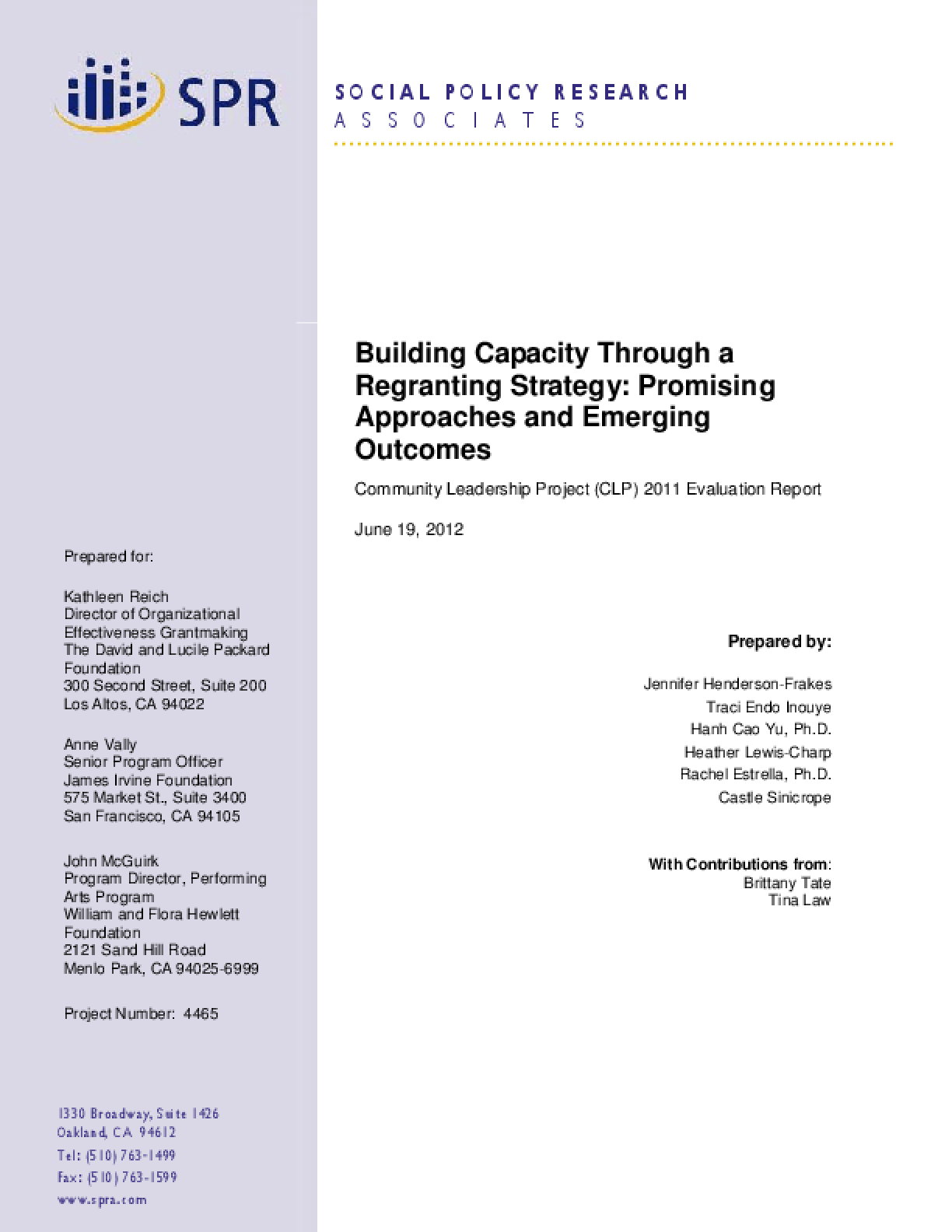 Building Capacity Through a Regranting Strategy: Promising Approaches and Emerging Outcomes