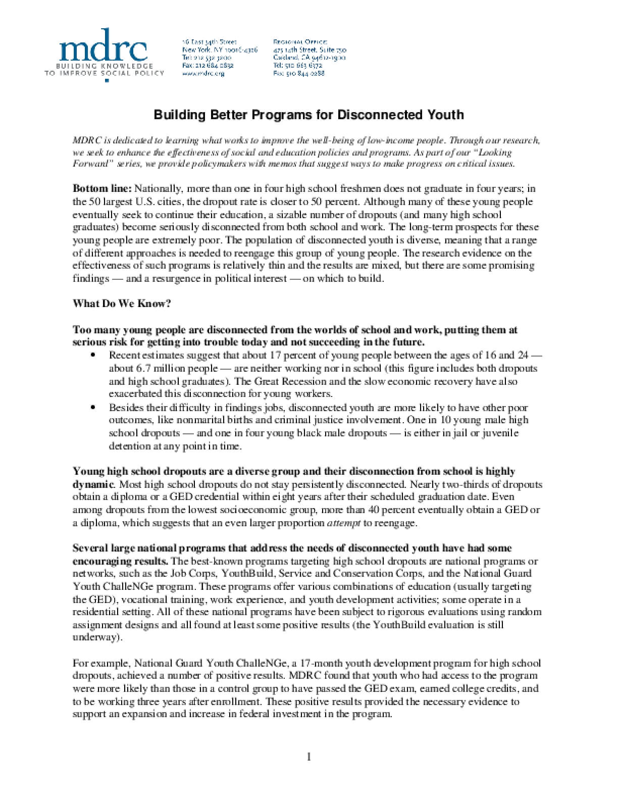Building Better Programs for Disconnected Youth