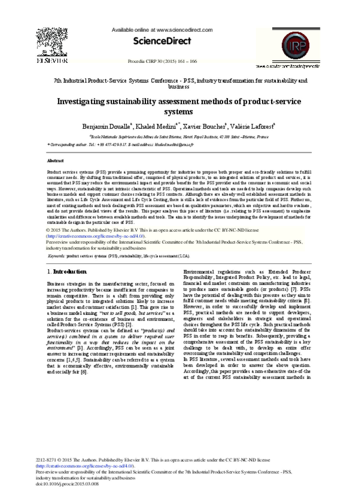 Investigating Sustainability Assessment Methods of Product-Service Systems