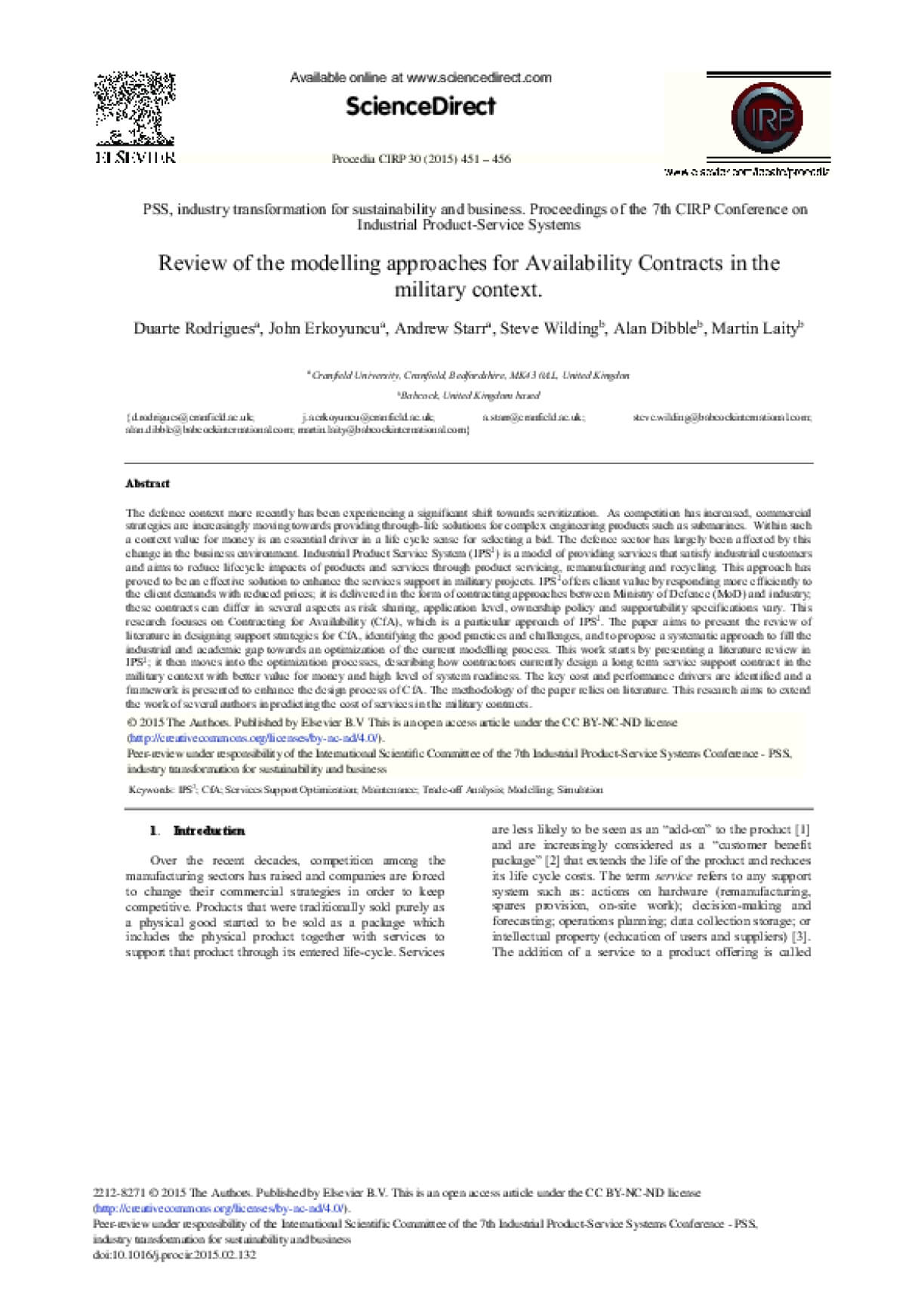 Review Of The Modelling Approaches For Availability Contracts In The Military Context
