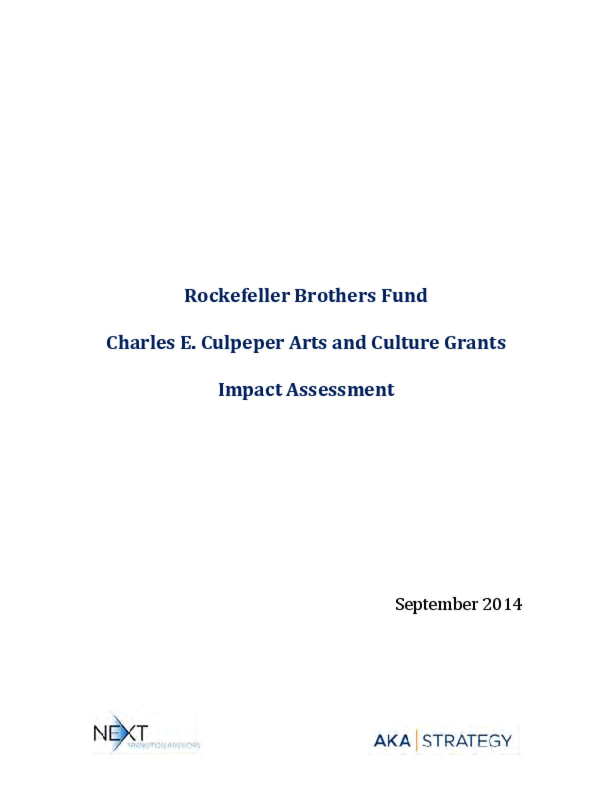 Rockefeller Brothers Fund Charles E. Culpeper Arts and Culture Grants Impact Assessment