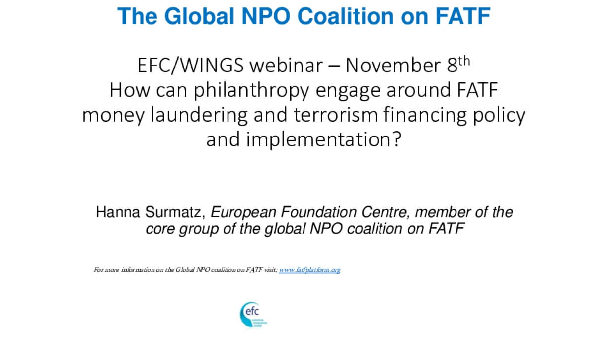 WINGS and EFC webinar: How can philanthropy engage around FATF money laundering and terrorism financing policy and implementation?