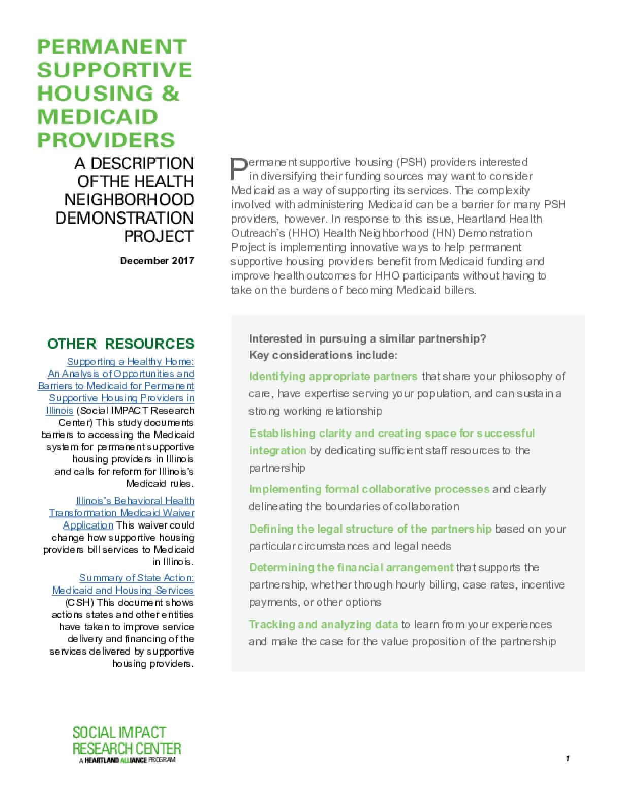 Permanent Supportive Housing & Medicaid Providers: A Description of the Health Neighborhood Demonstration Project