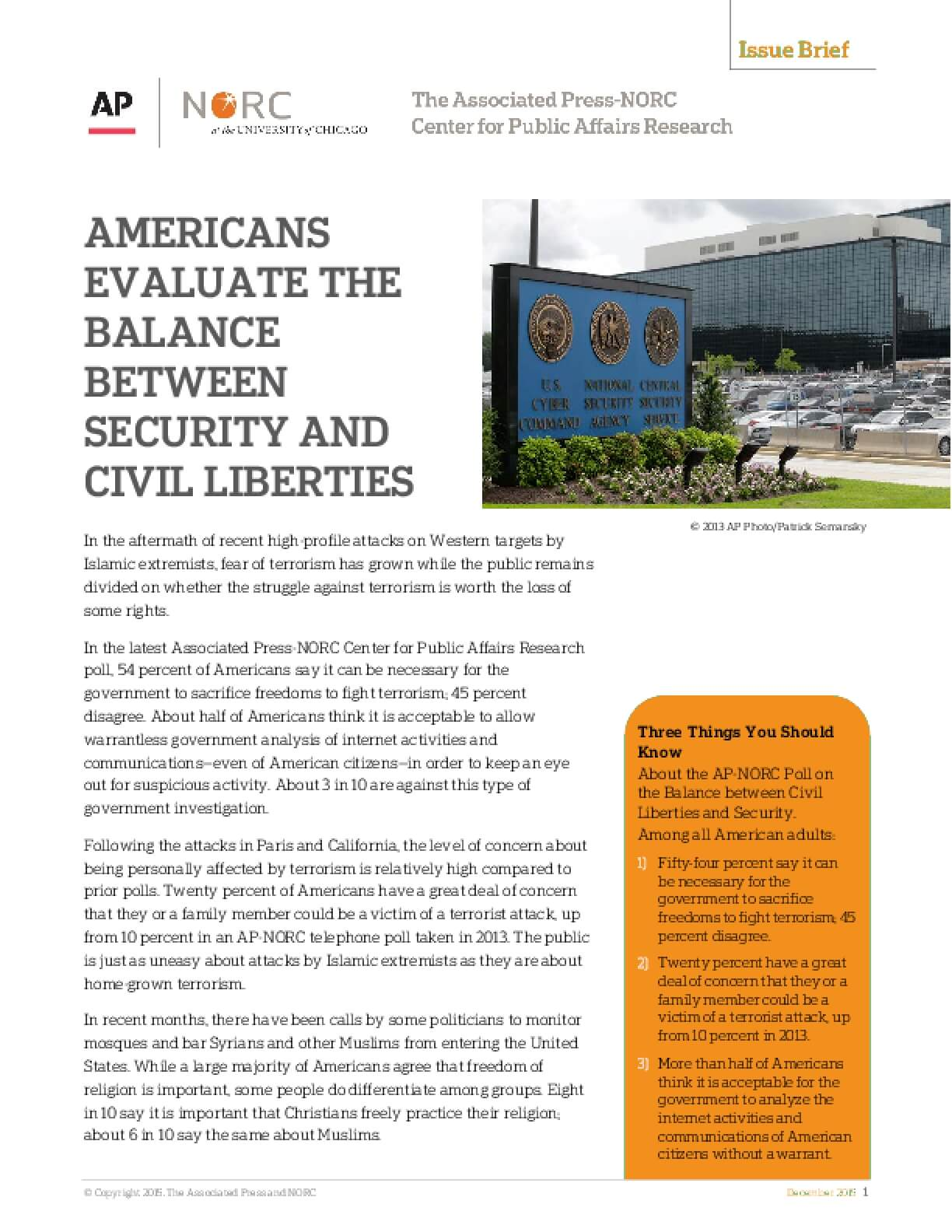 Americans Evaluate the Balance between Security and Civil Liberties