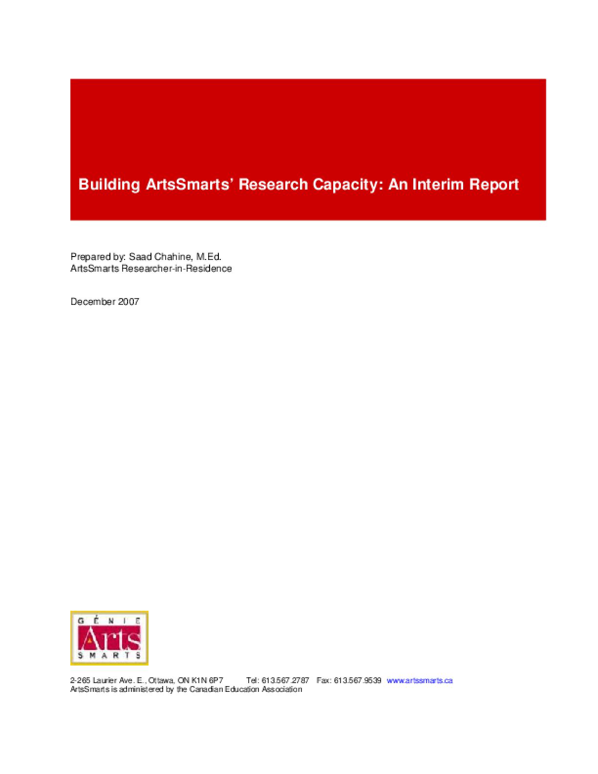 Building ArtsSmarts' Research Capacity: An Interim Report