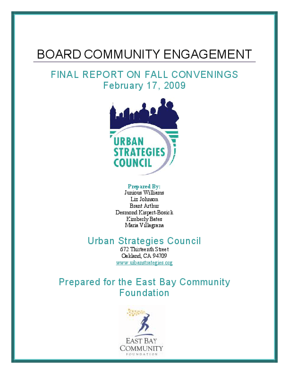 Report On OUSD Board Community Engagement Convenings