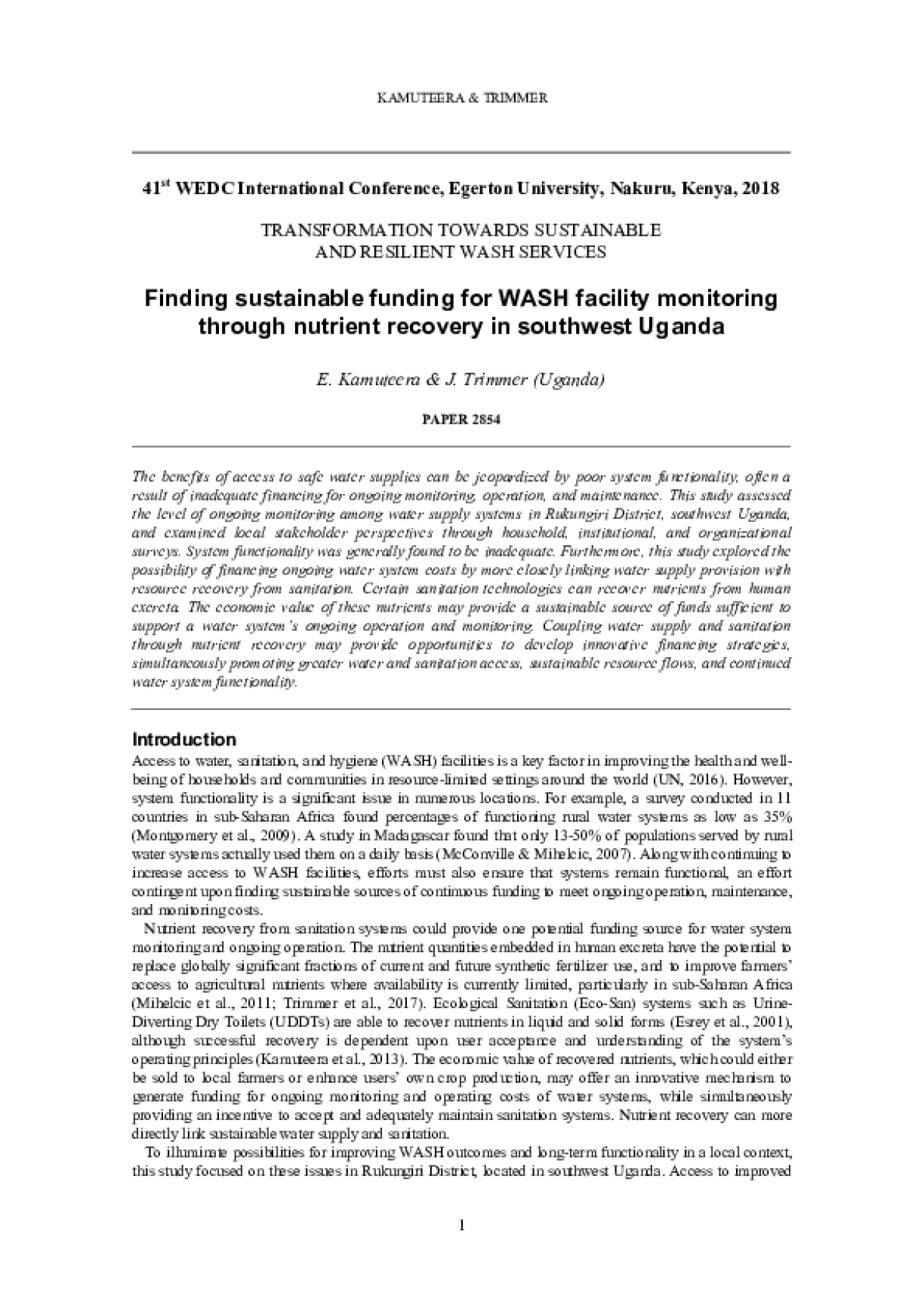 Finding sustainable funding for WASH facility monitoring through nutrient recovery in southwest Uganda
