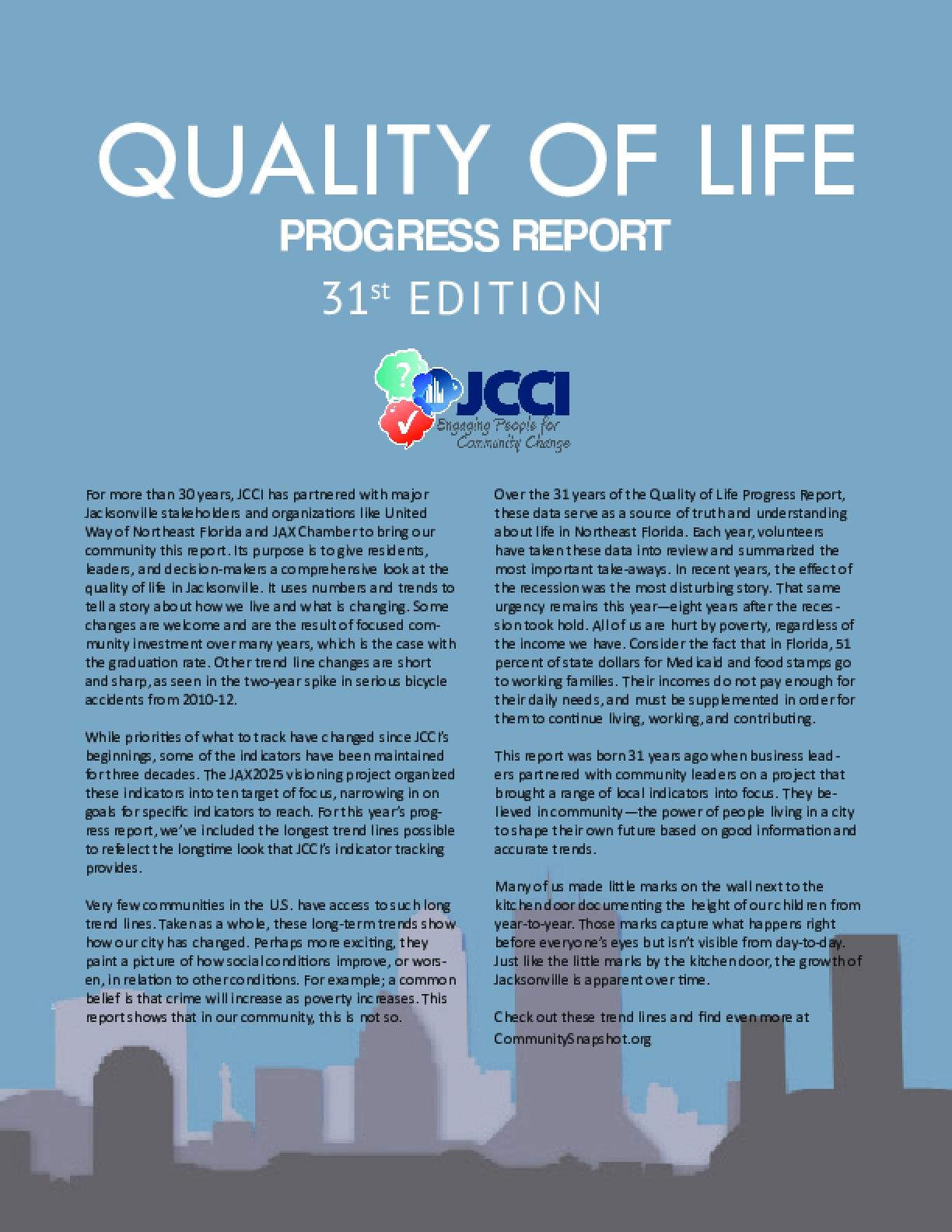Quality of Life Progress Report 31st Edition