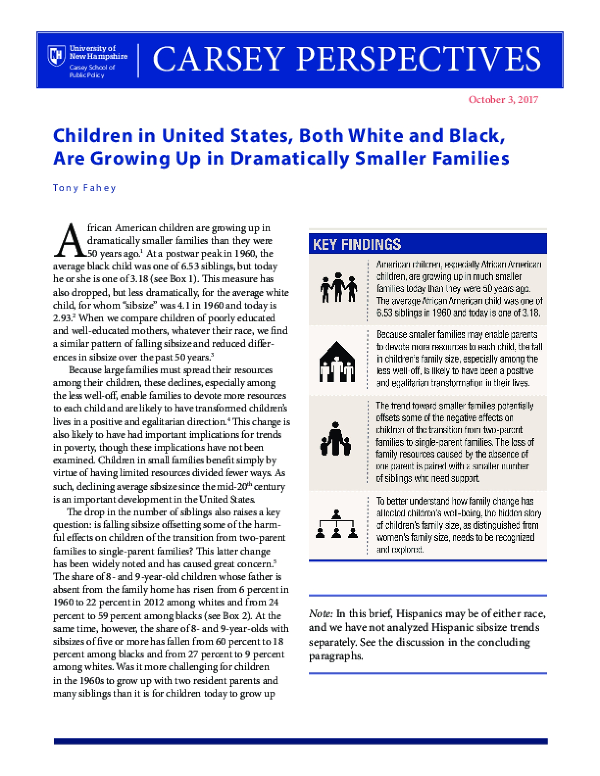 Carsey Perspectives: Children in United States, Both White and Black, Are Growing Up in Dramatically Smaller Families