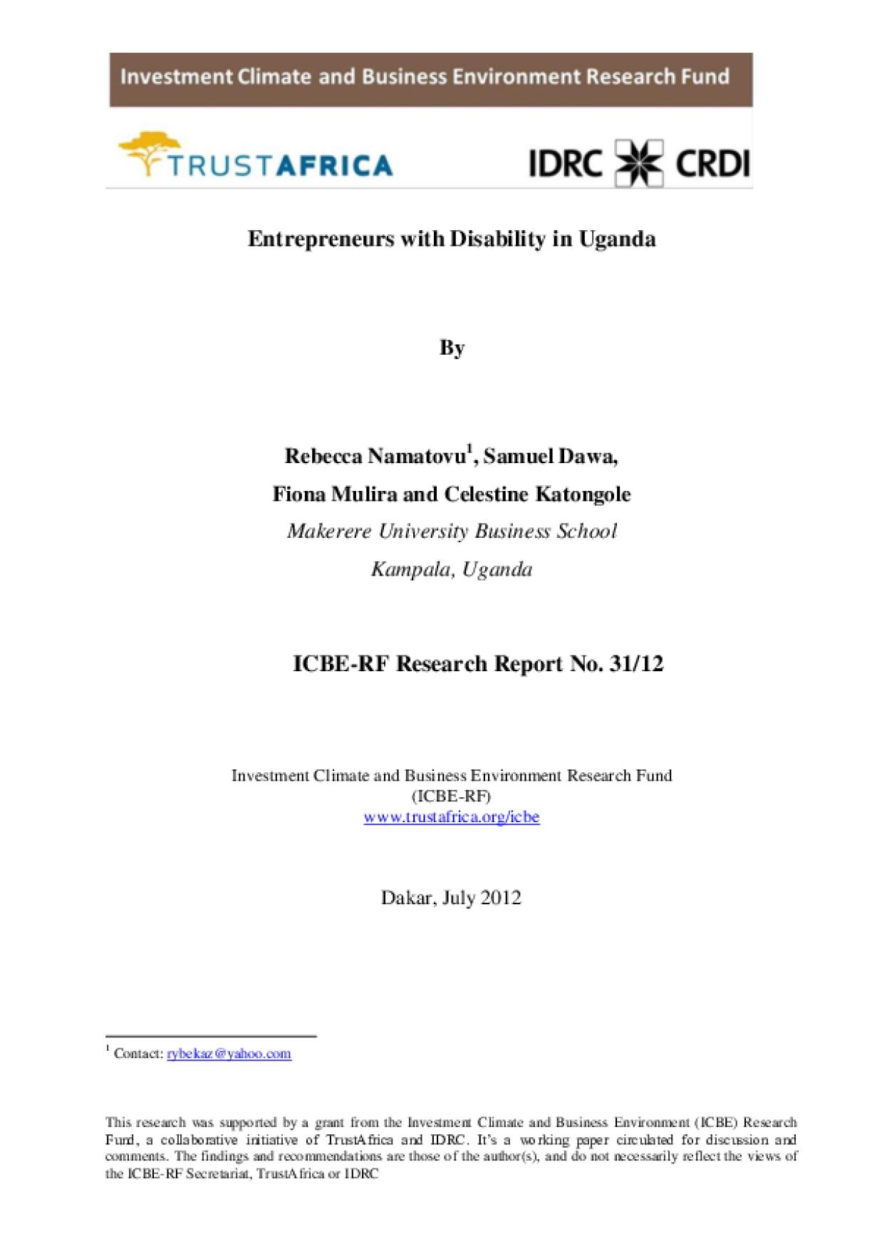 Entrepreneurs with Disability in Uganda