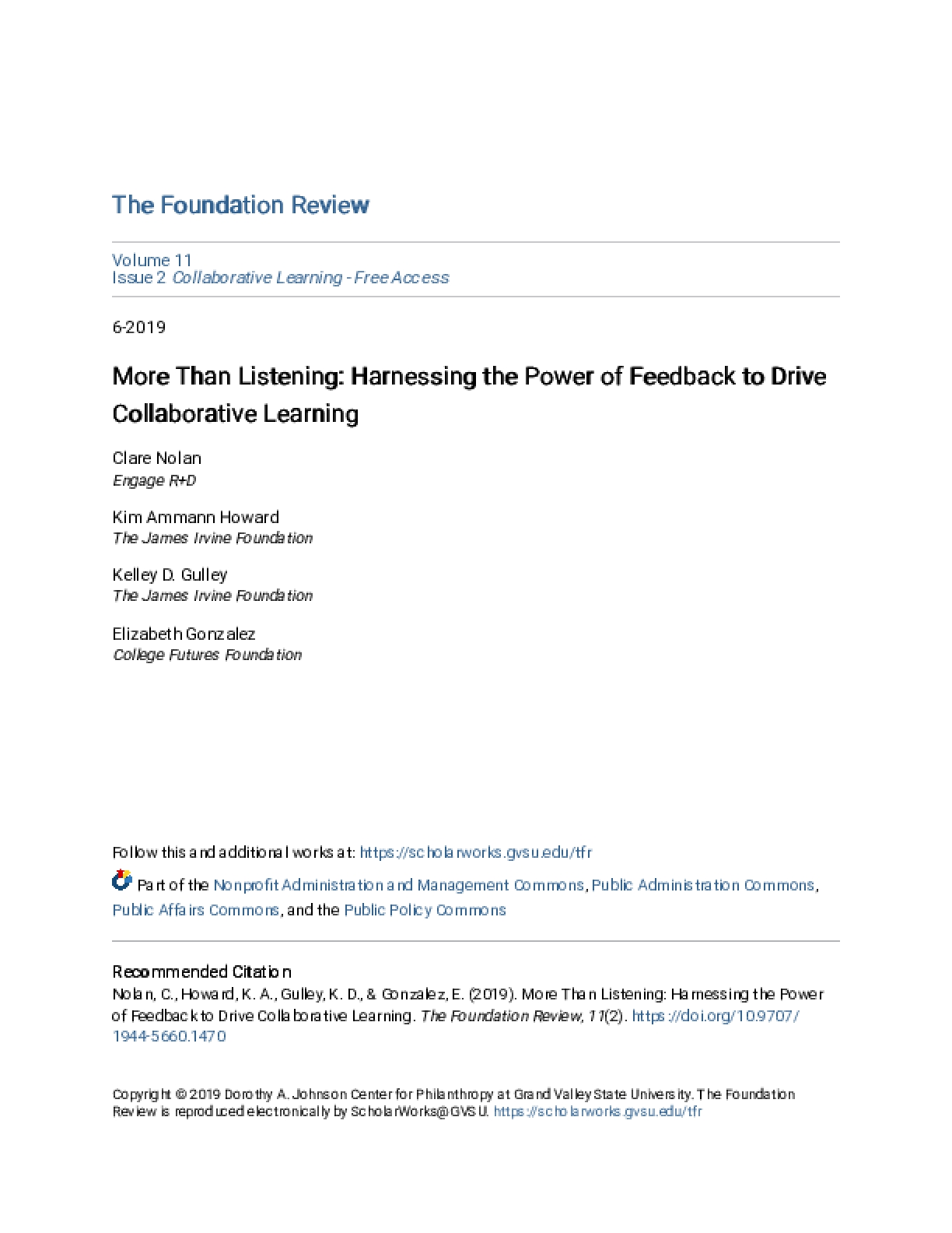 More than Listening: Harnessing the Power of Feedback to Drive Collaborative Learning