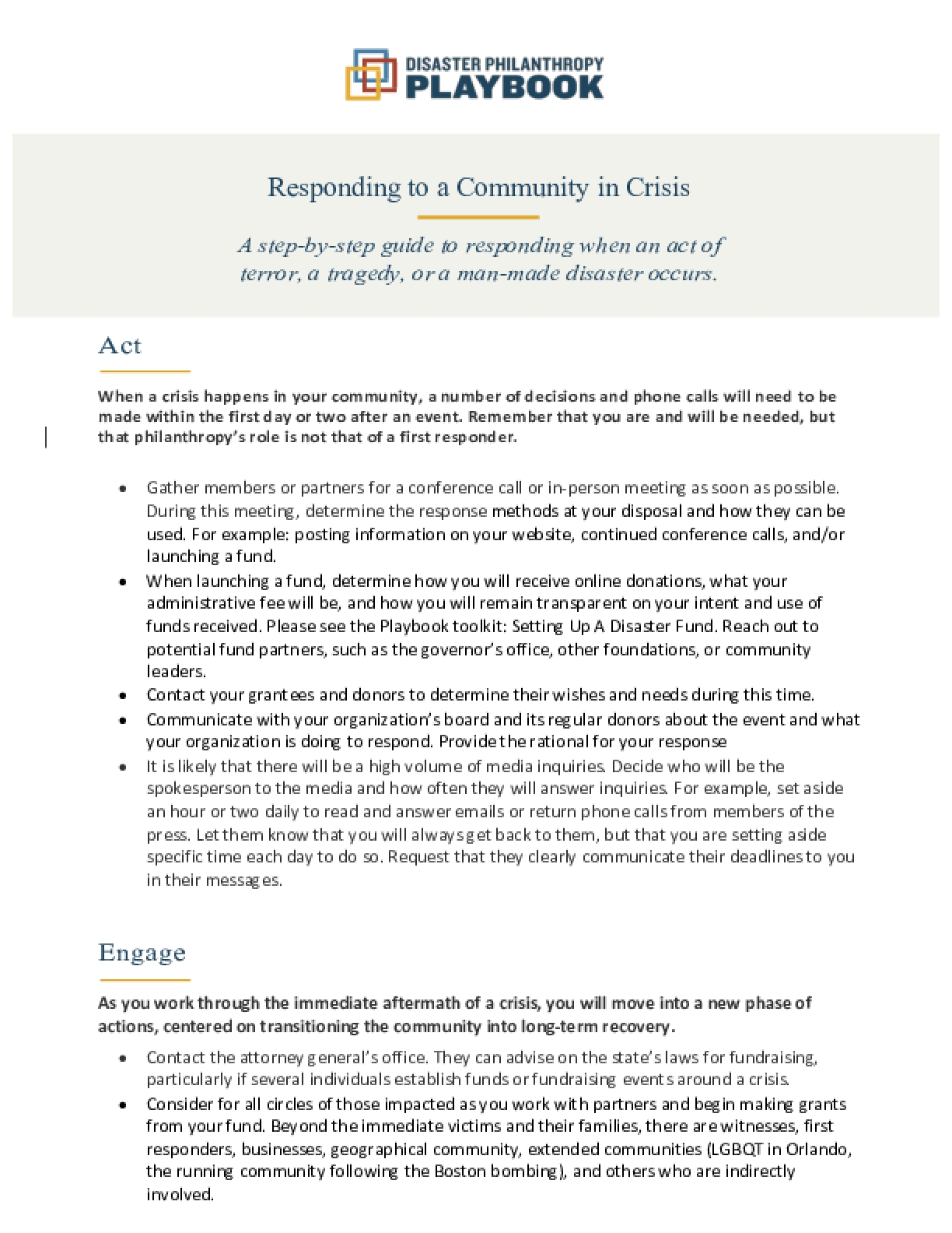 Responding to A Community in Crisis