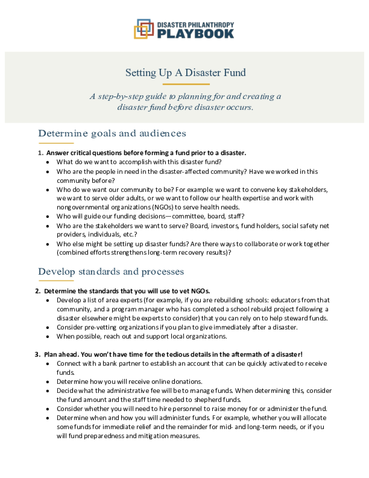 Setting Up A Disaster Fund