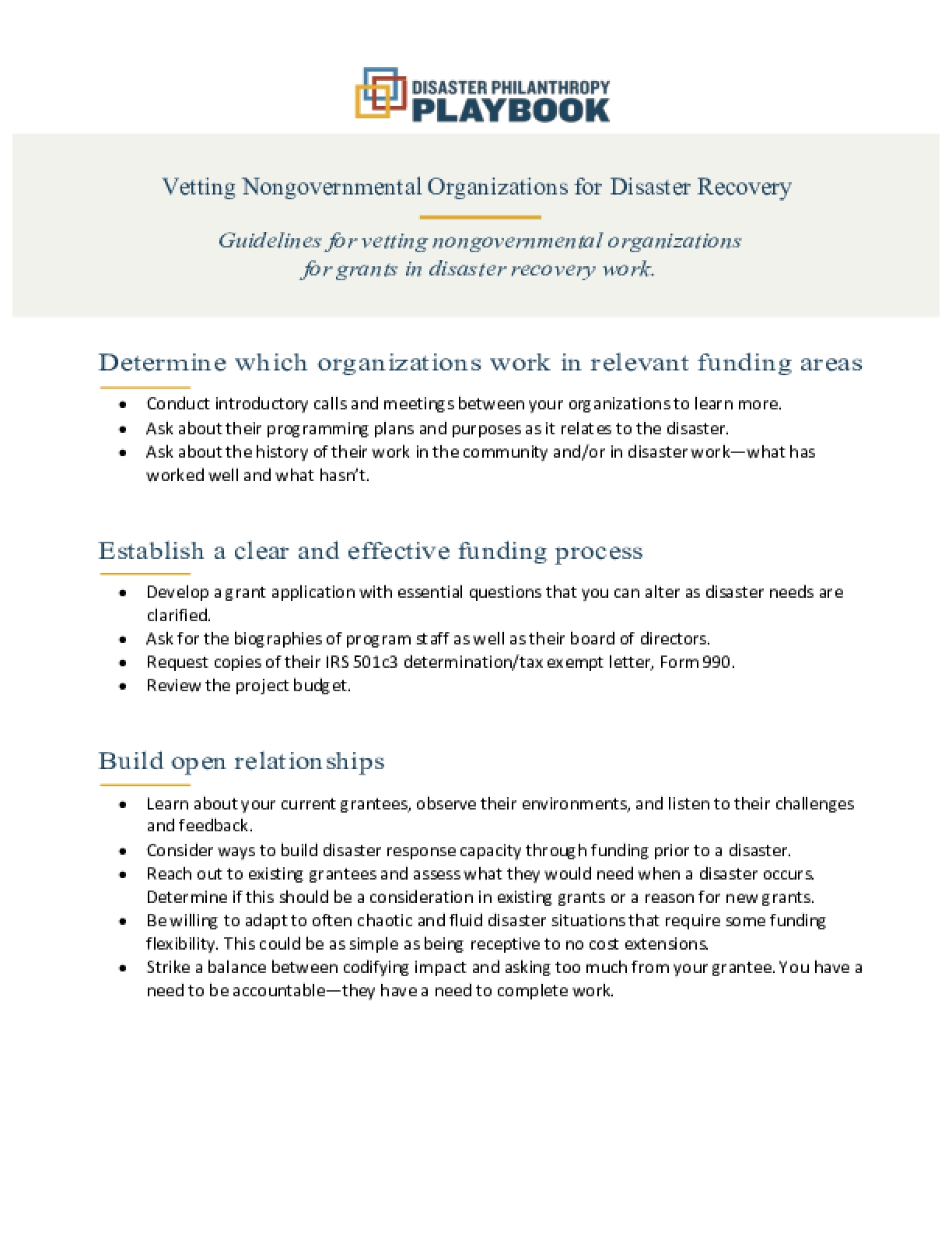Vetting Nongovernmental Organizations for Disaster Recovery