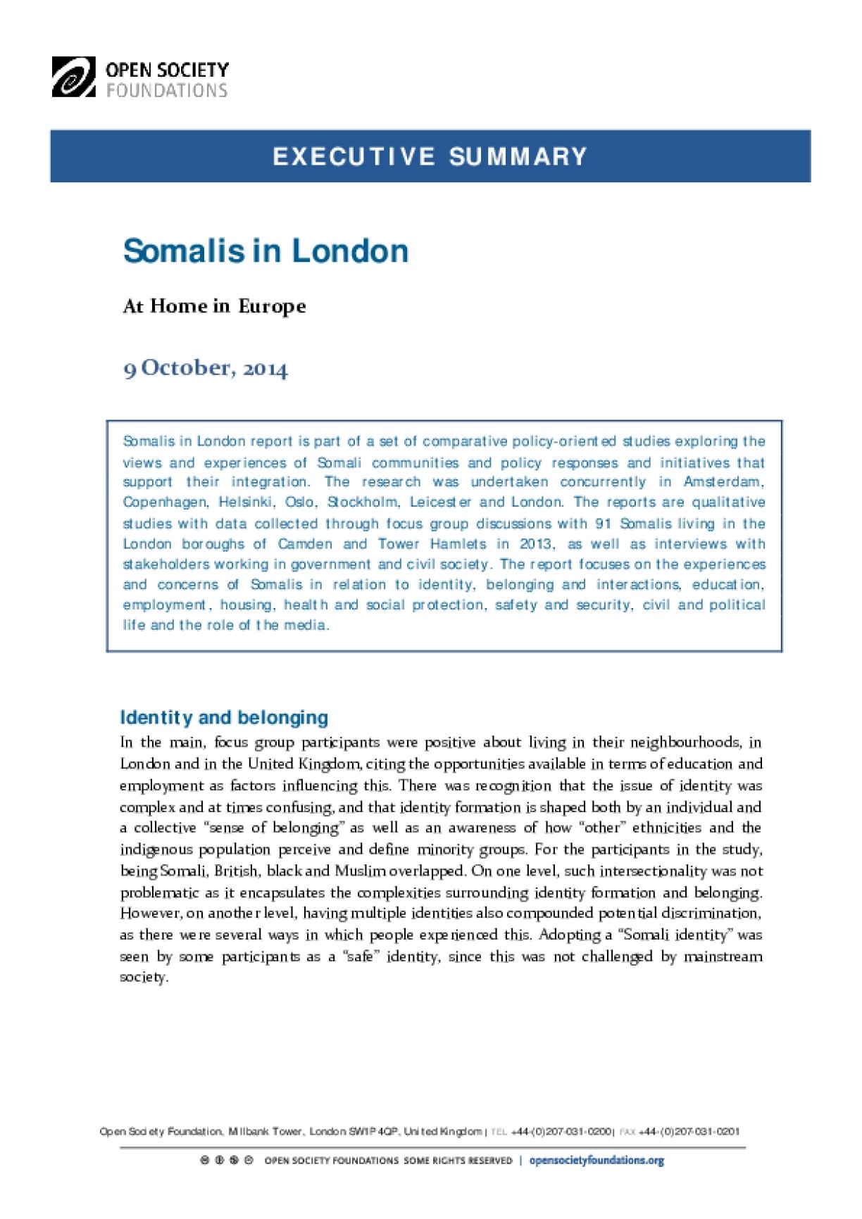 Somalis in London: Executive Summary