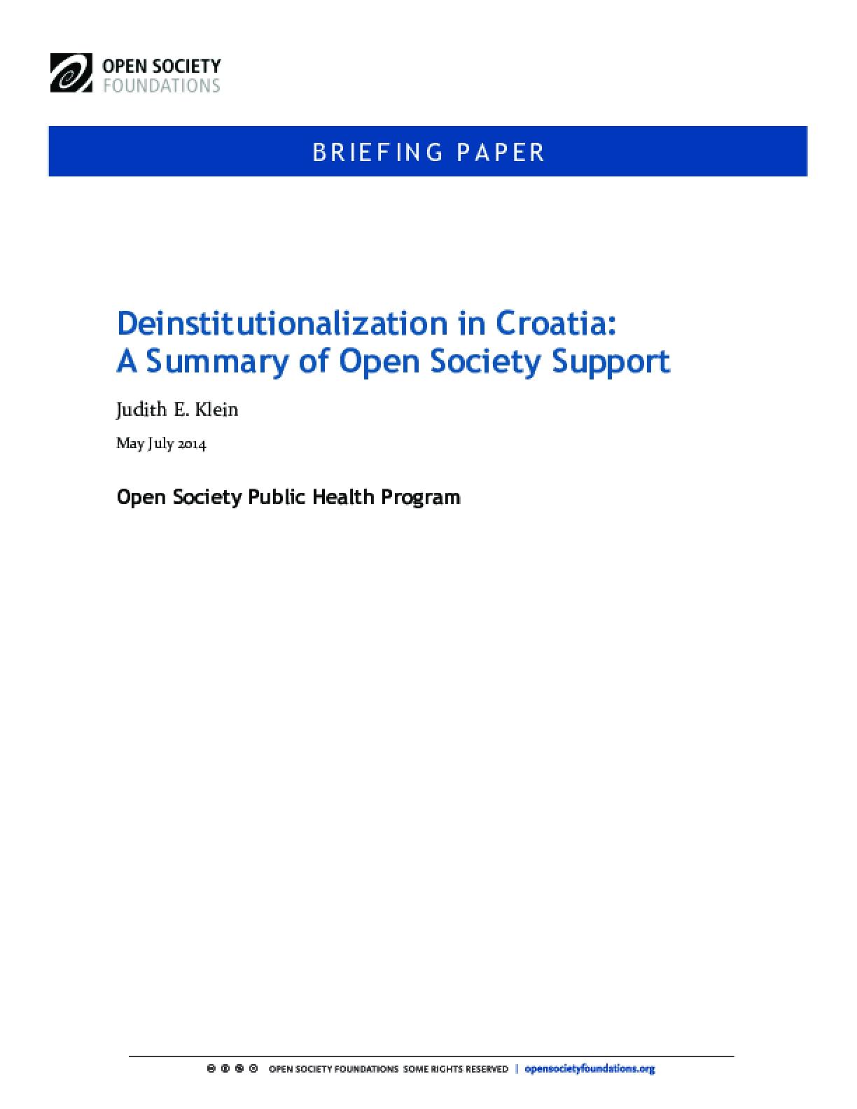 Deinstitutionalization in Croatia