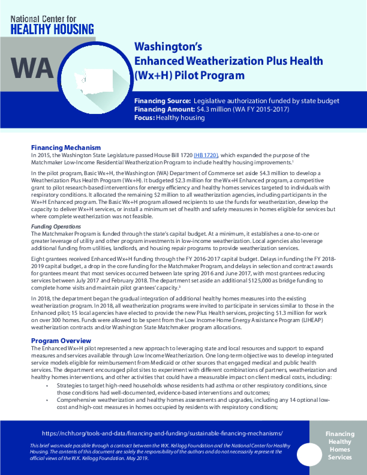 Washington's Enhanced Weatherization Plus Health Pilot Program