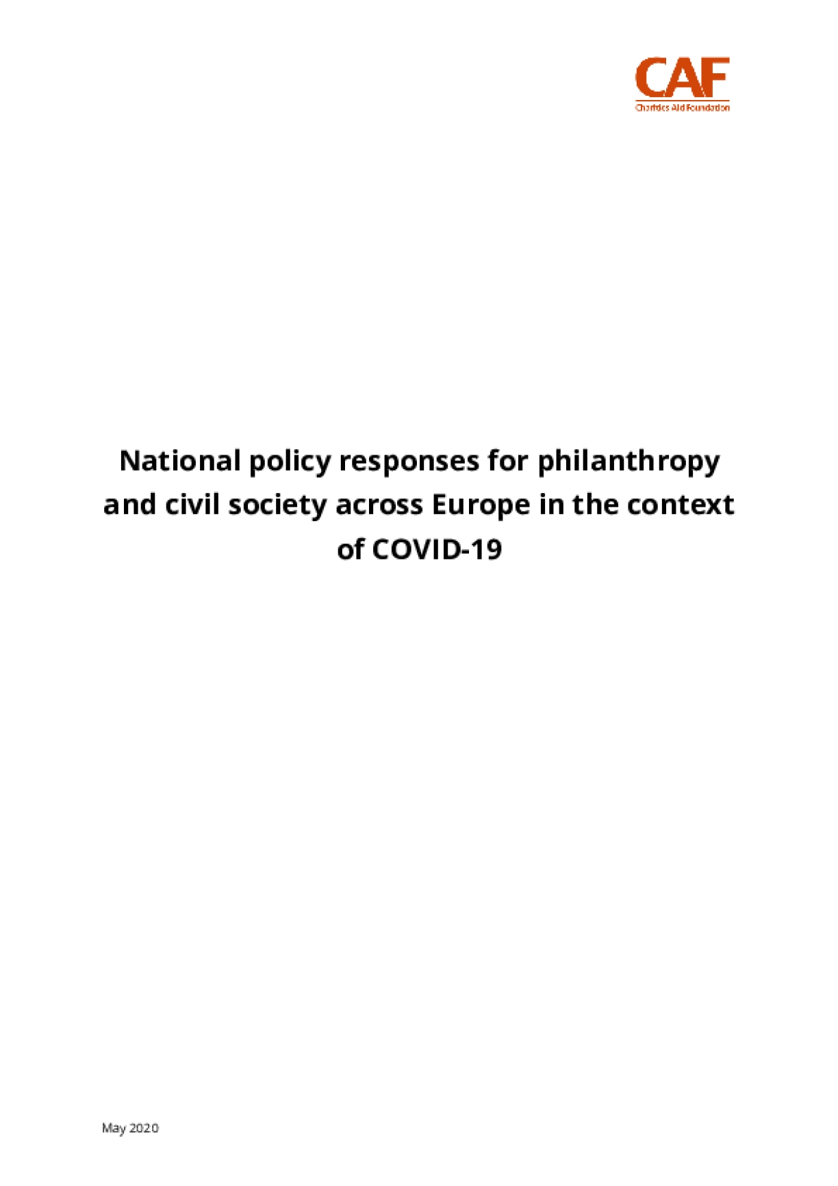 National policy responses for philanthropy and civil society across Europe in the context of COVID-19