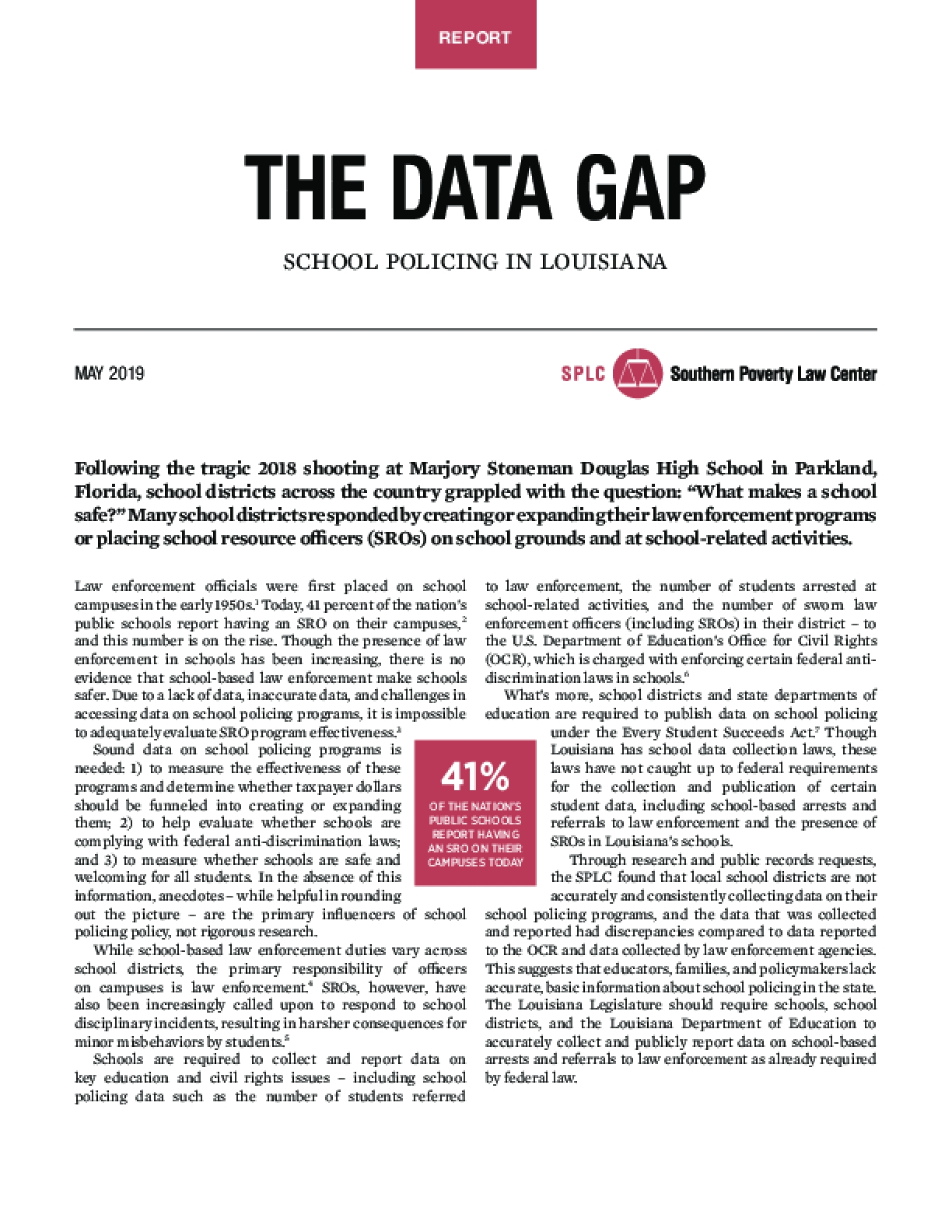 The Data Gap: School Policing In Louisiana