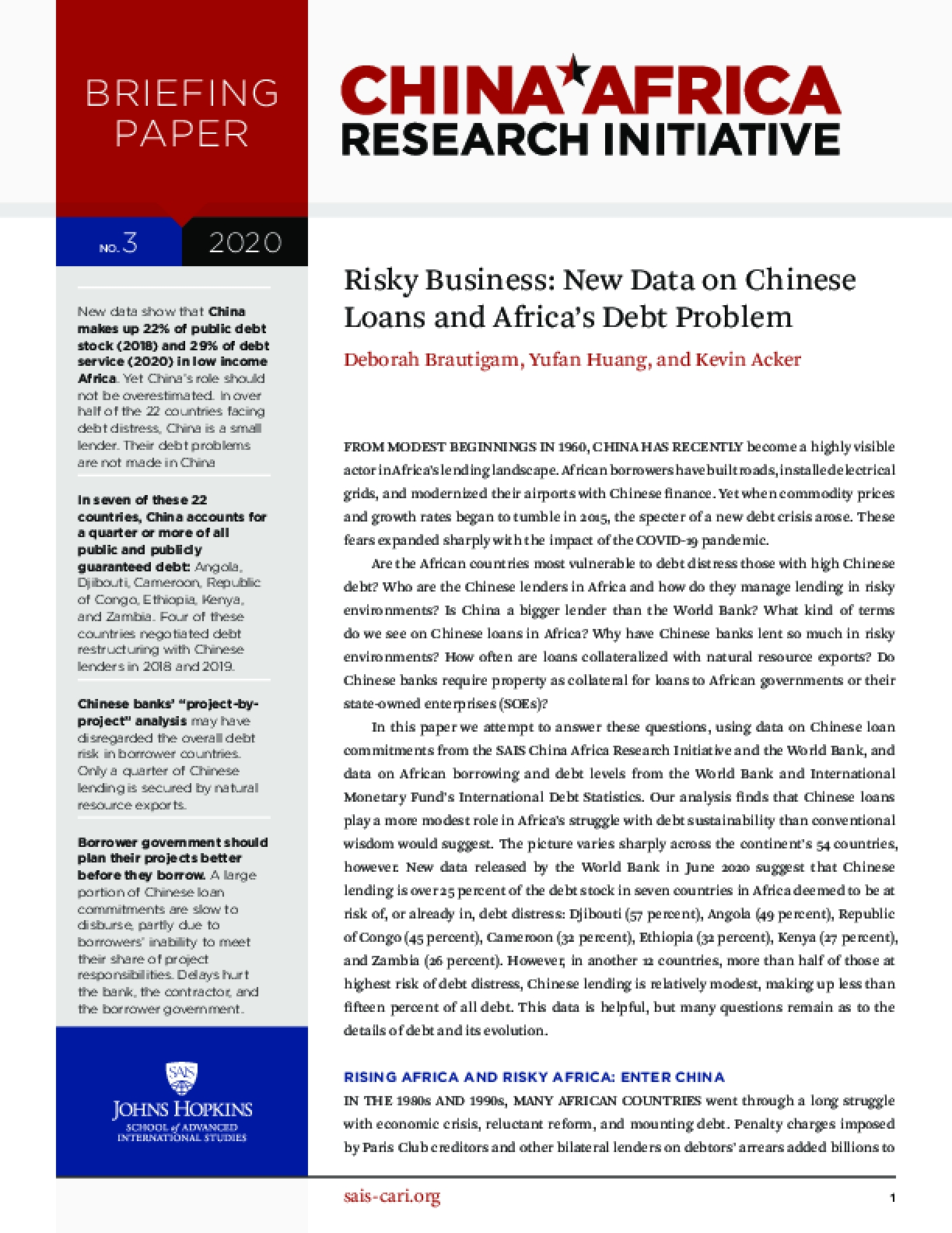 Risky Business: New Data on Chinese Loans and Africa's Debt Problem