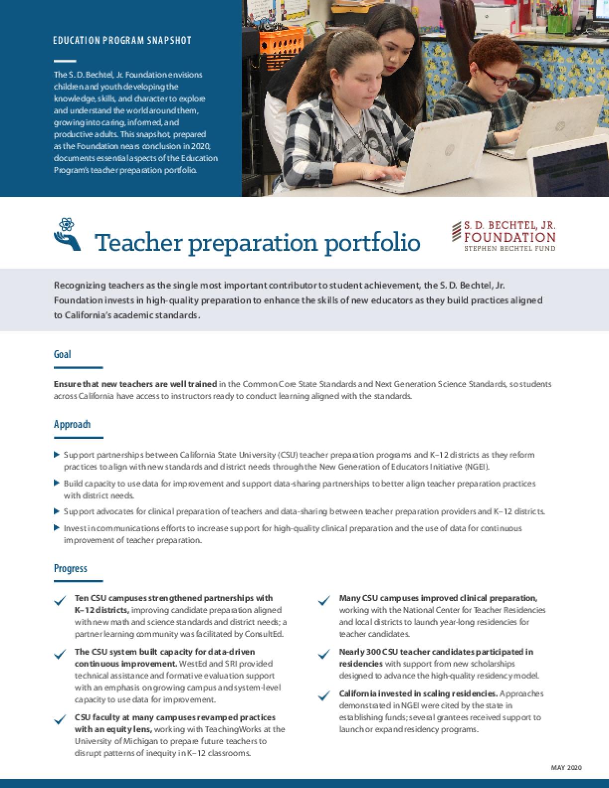 Education Program Snapshot: Teacher Preparation Portfolio