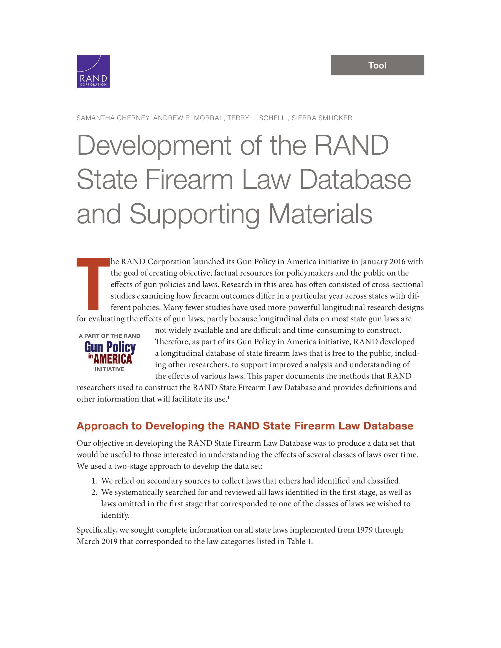 Development of the RAND State Firearm Law Database and Supporting Materials
