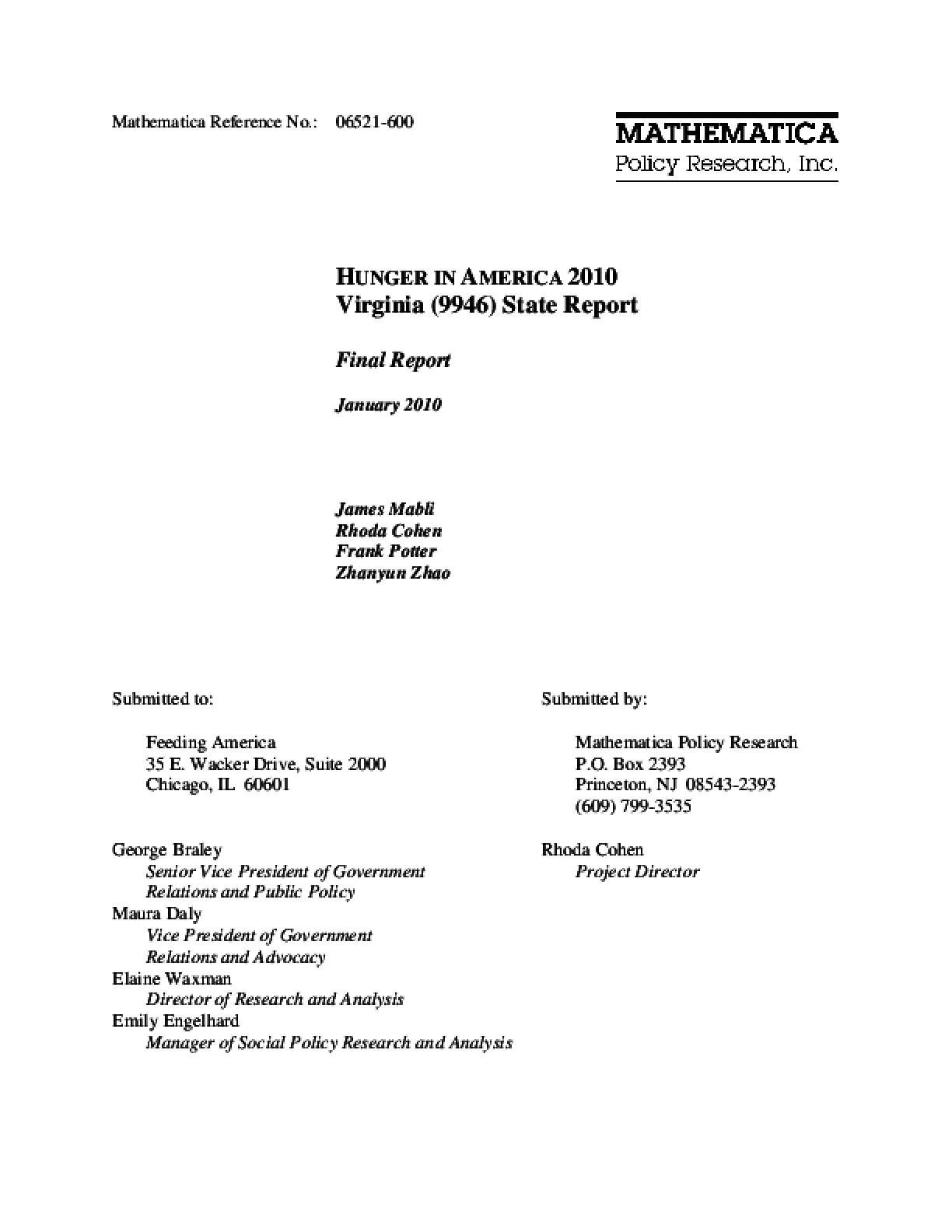 Hunger in America 2010 Virginia State Report