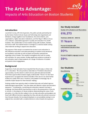 The Arts Advantage: Impacts of Arts Education on Boston Students