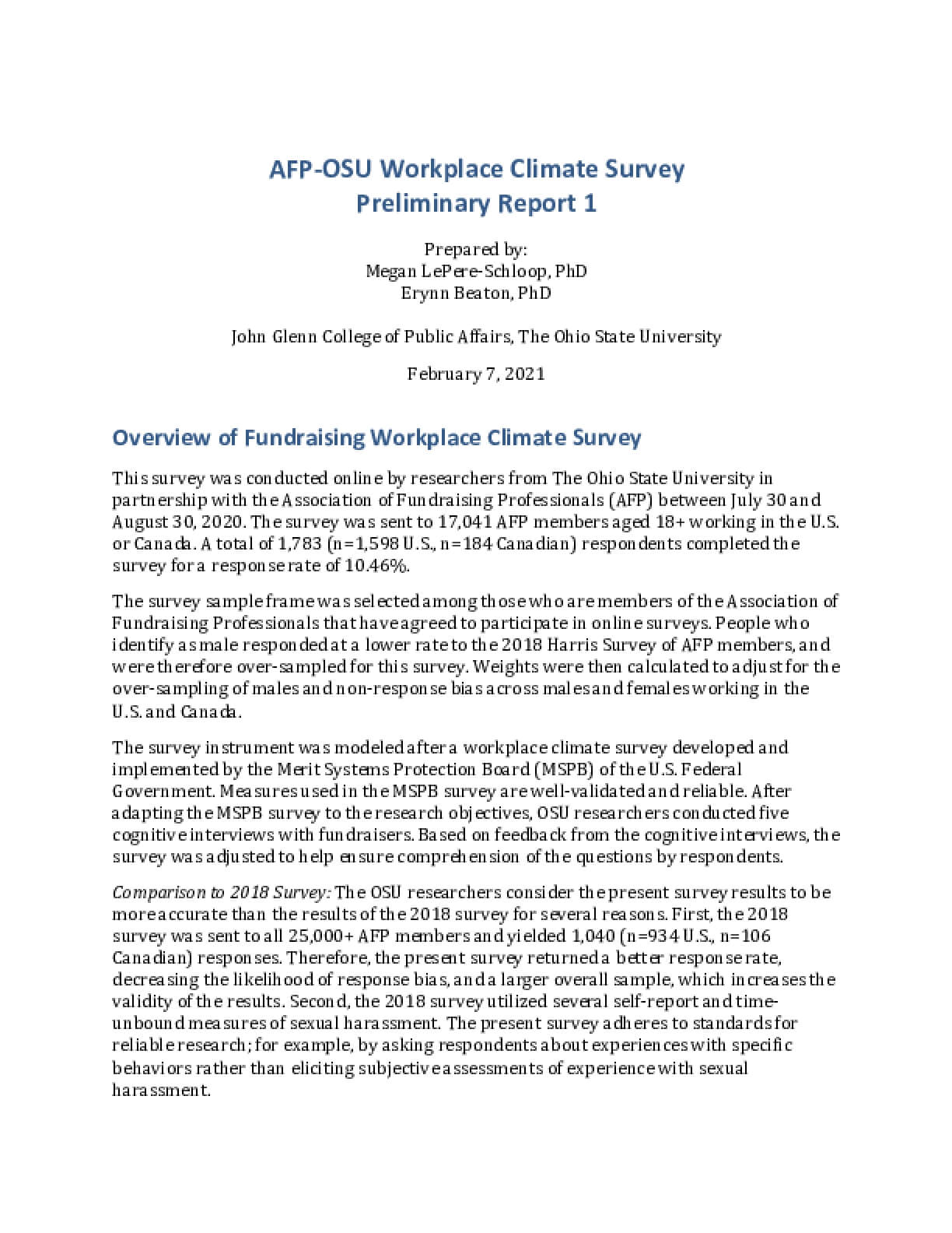 AFP-OSU Workplace Climate Survey Preliminary Report 1