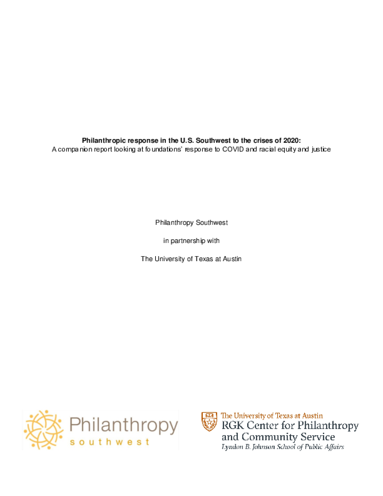 Philanthropic response in the U.S. Southwest to the crises of 2020: A companion report looking at foundations' response to COVID and racial equity and justice