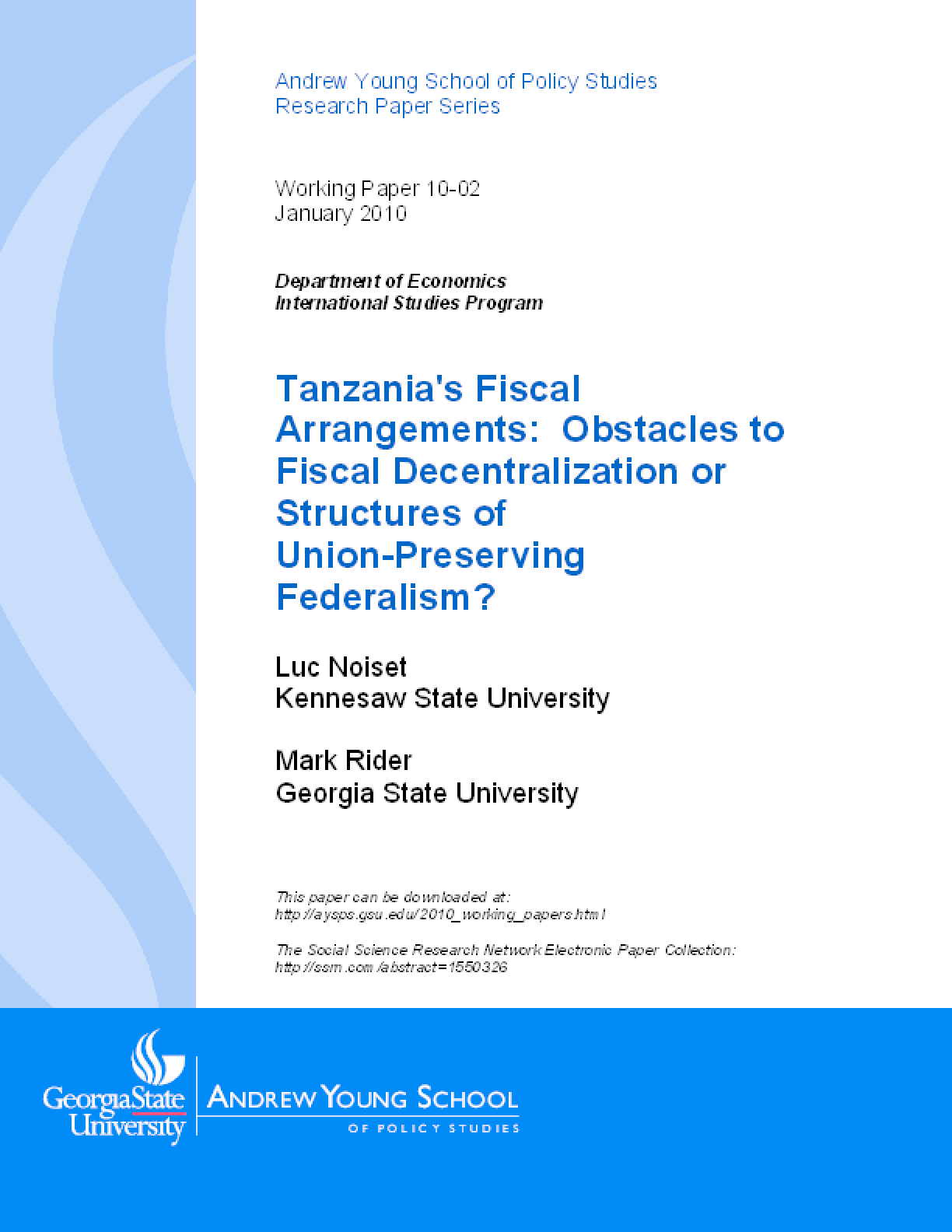 Tanzania's Fiscal Arrangements: Obstacles to Fiscal Decentralization or Structures of Union-Preserving Federalism?