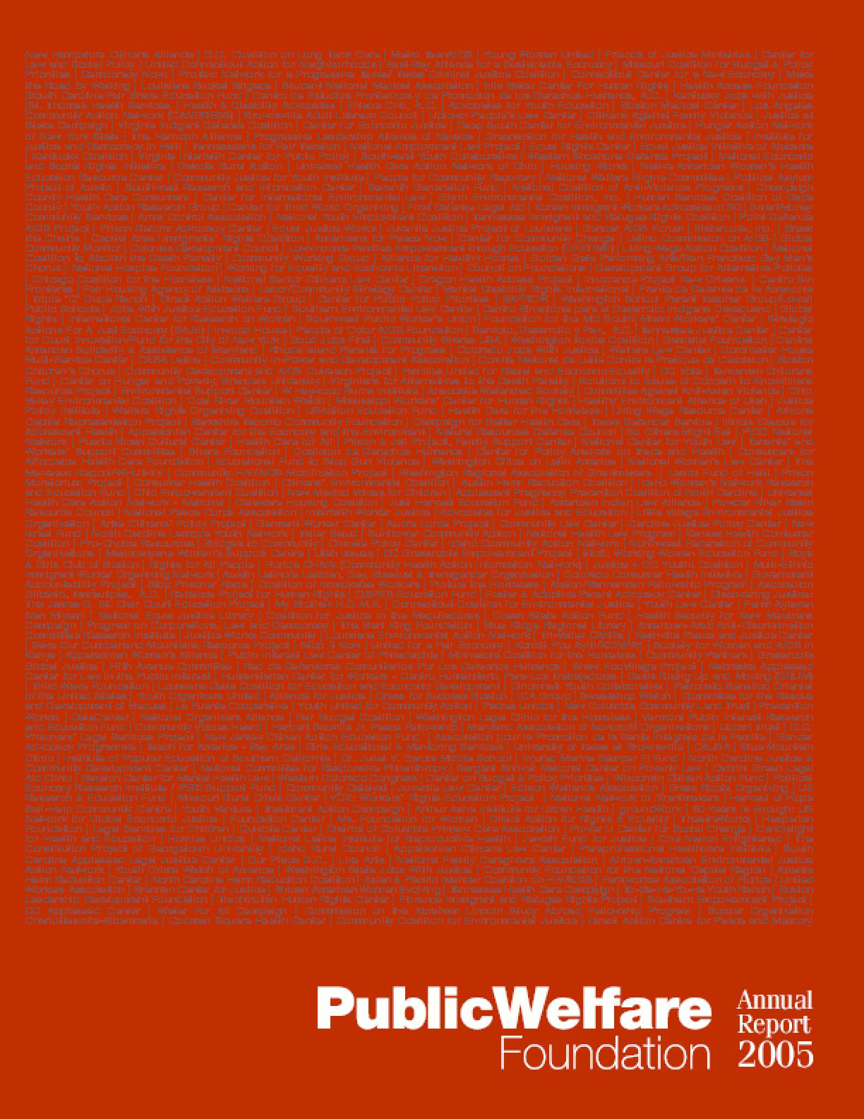 Public Welfare Foundation - 2005 Annual Report